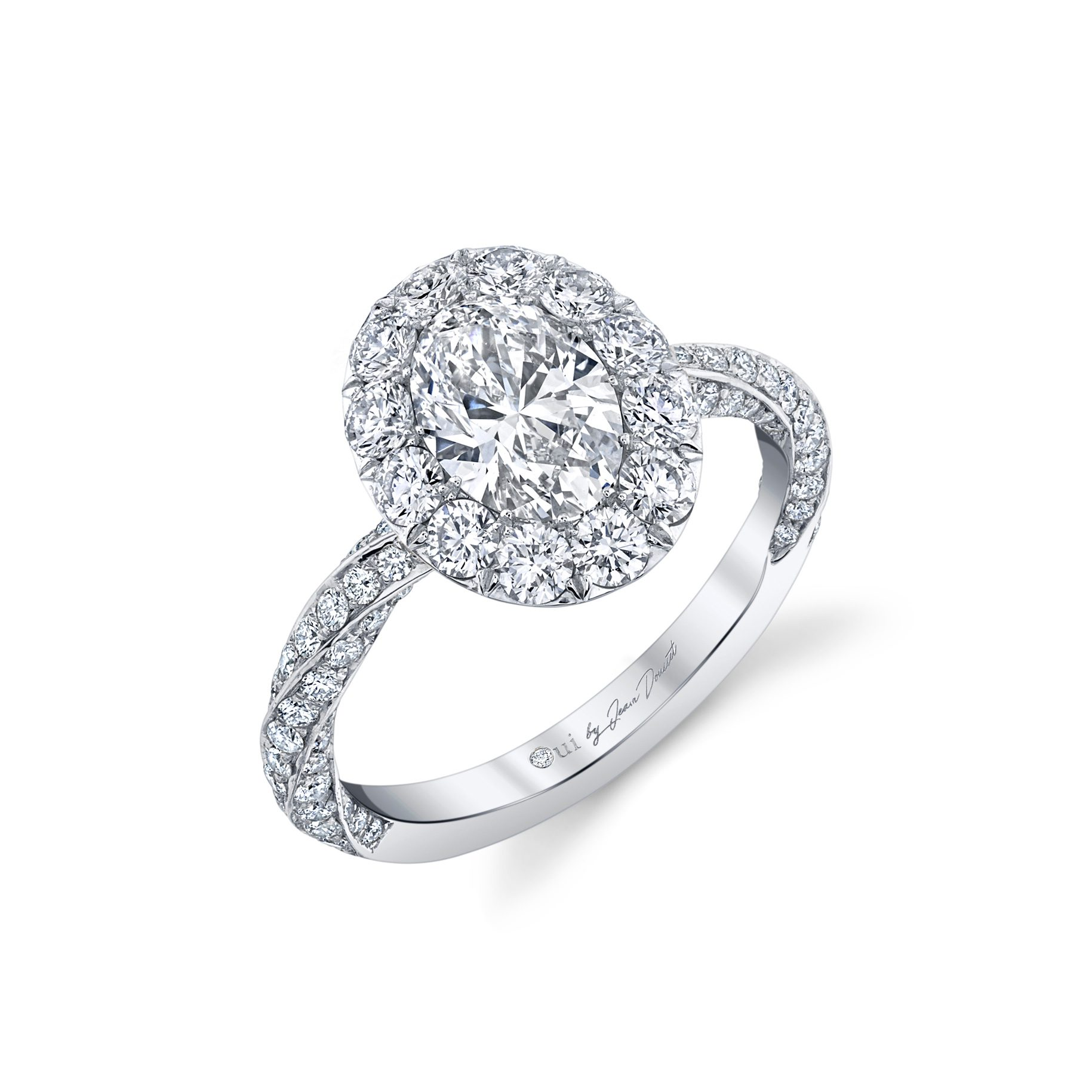 Camille Floating Oval Seamless Solitaire® Engagement Ring with diamond pavé in 18k White Gold Profile View by Oui by Jean Dousset