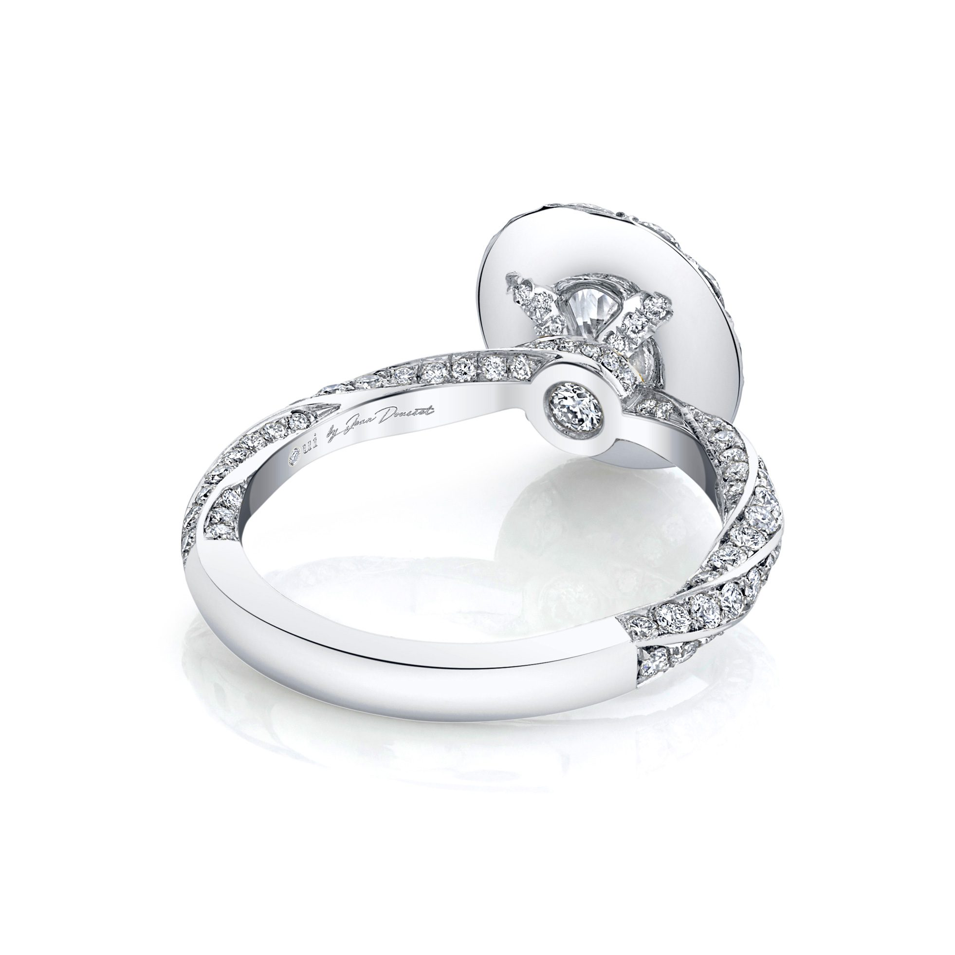 Camille Floating Oval Seamless Solitaire® Engagement Ring with diamond pavé in 18k White Gold Back View by Oui by Jean Dousset