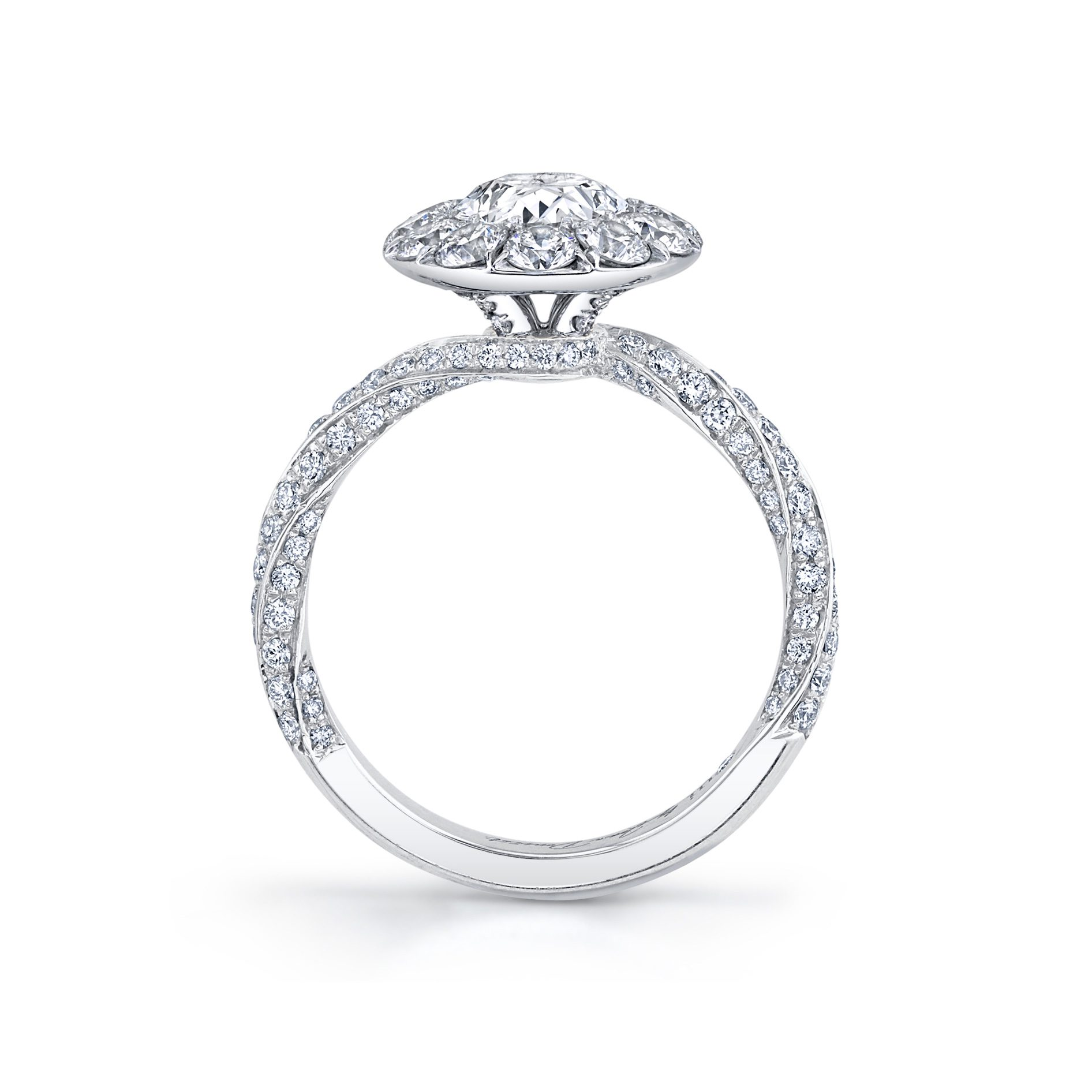 Camille Floating Oval Seamless Solitaire® Engagement Ring with diamond pavé in 18k White Gold Standing View by Oui by Jean Dousset