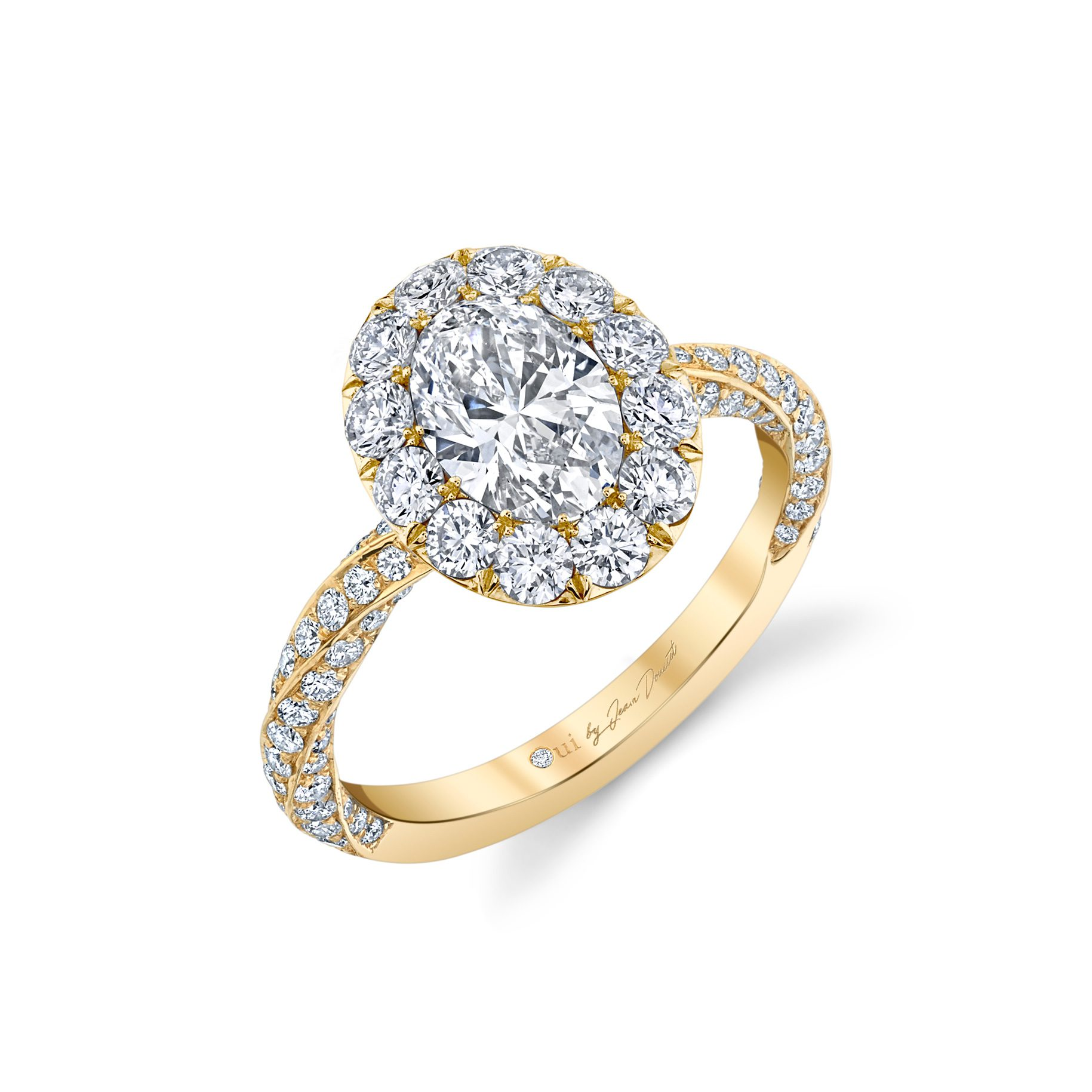 Camille Floating Oval Seamless Solitaire® Engagement Ring with diamond pavé in 18k Yellow Gold Profile View by Oui by Jean Dousset