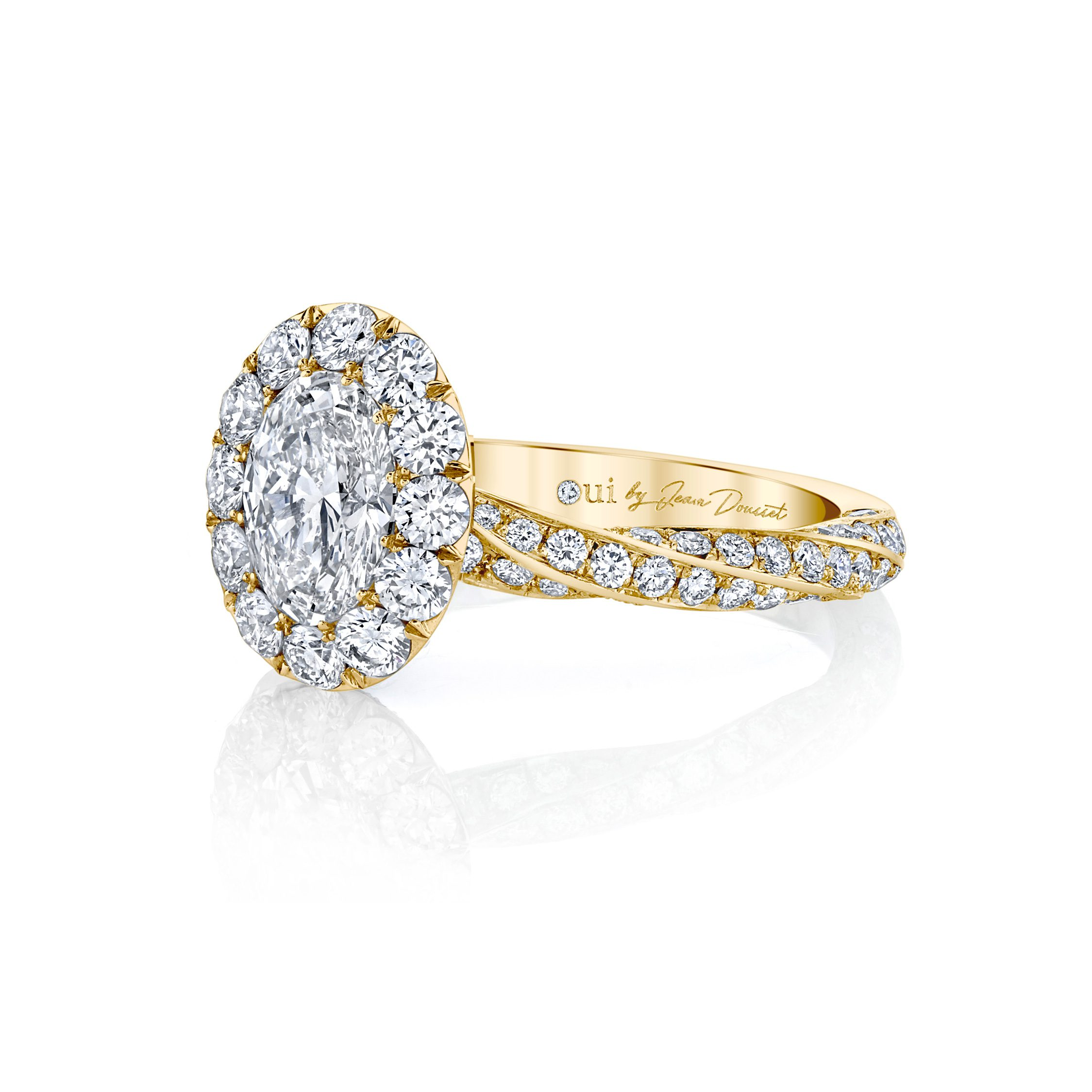 Camille Floating Oval Seamless Solitaire® Engagement Ring with diamond pavé in 18k Yellow Gold Side View by Oui by Jean Dousset