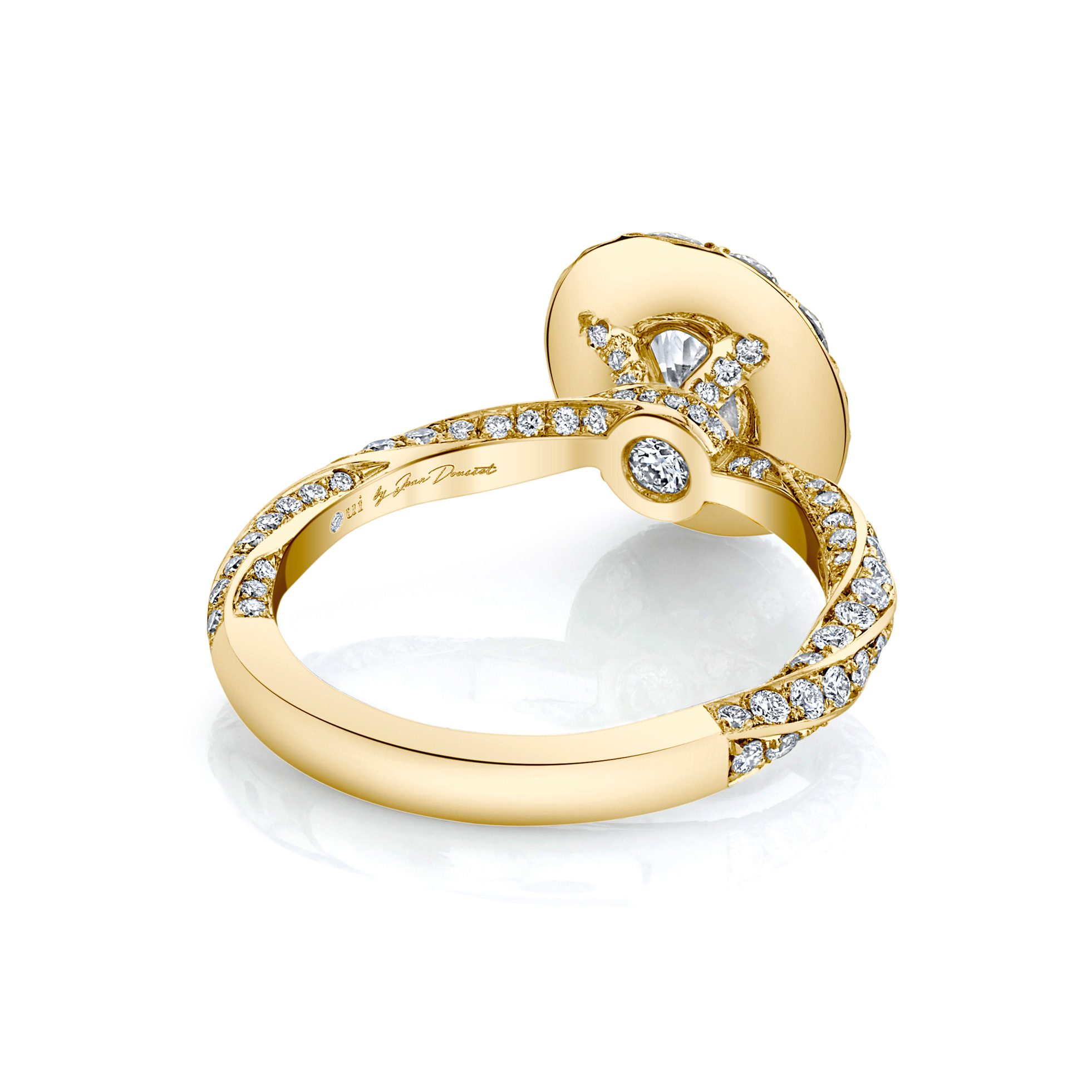 Camille Floating Oval Seamless Solitaire® Engagement Ring with diamond pavé in 18k Yellow Gold Back View by Oui by Jean Dousset