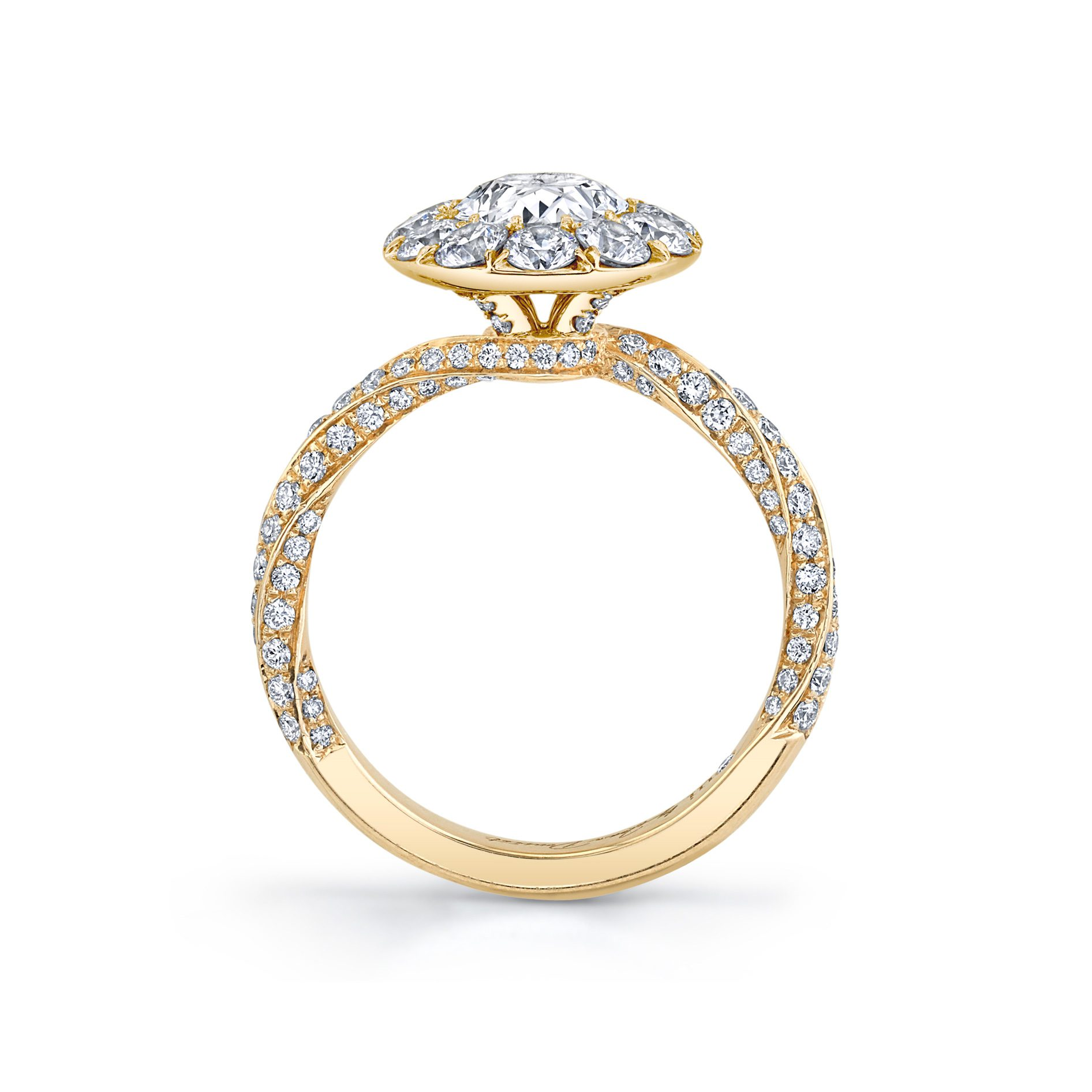 Camille Floating Oval Seamless Solitaire® Engagement Ring with diamond pavé in 18k Yellow Gold Standing View by Oui by Jean Dousset