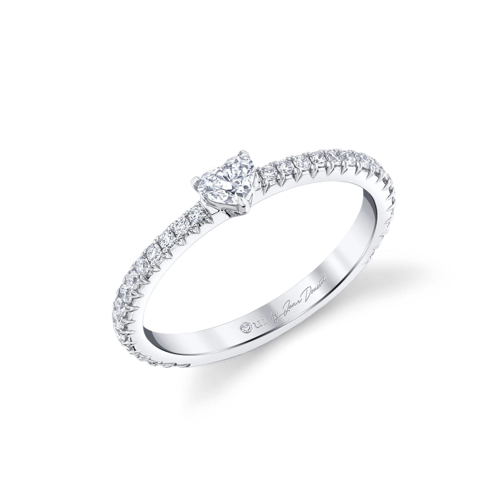 La Petite Heart Diamond Wedding Band with french pavé in 18k White Gold Standing View by Oui by Jean Dousset