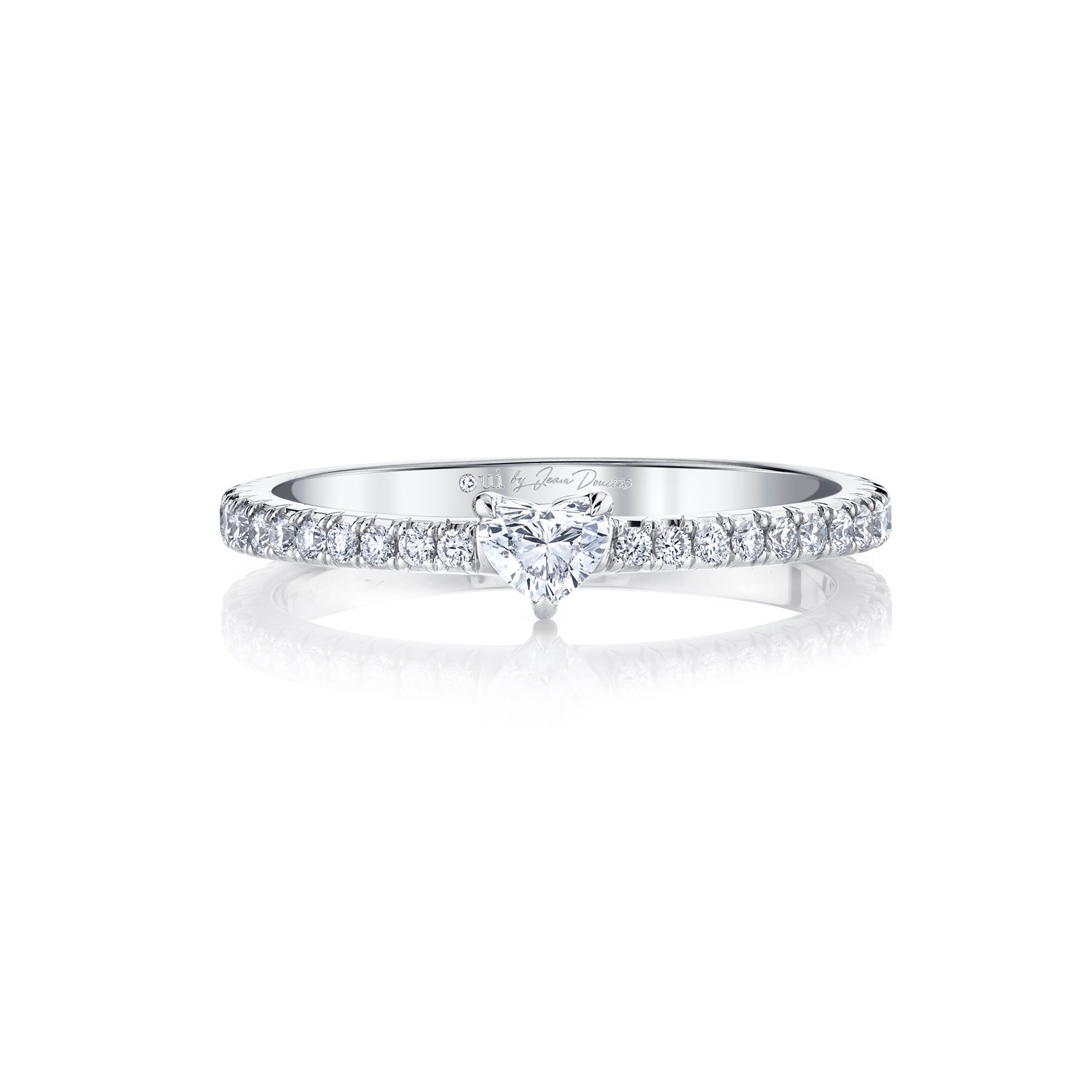 La Petite Heart Diamond Wedding Band with french pavé in 18k White Gold Front View by Oui by Jean Dousset