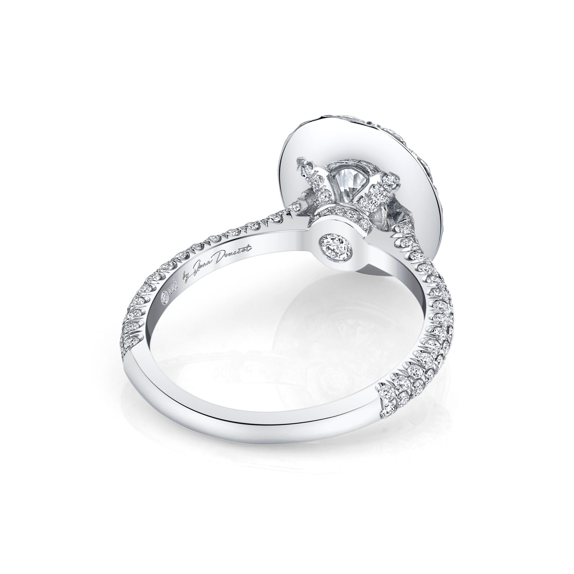 Jacqueline Oval Seamless Solitaire® Engagement Ring with diamond pavé in 18k White Gold Back View by Oui by Jean Dousset