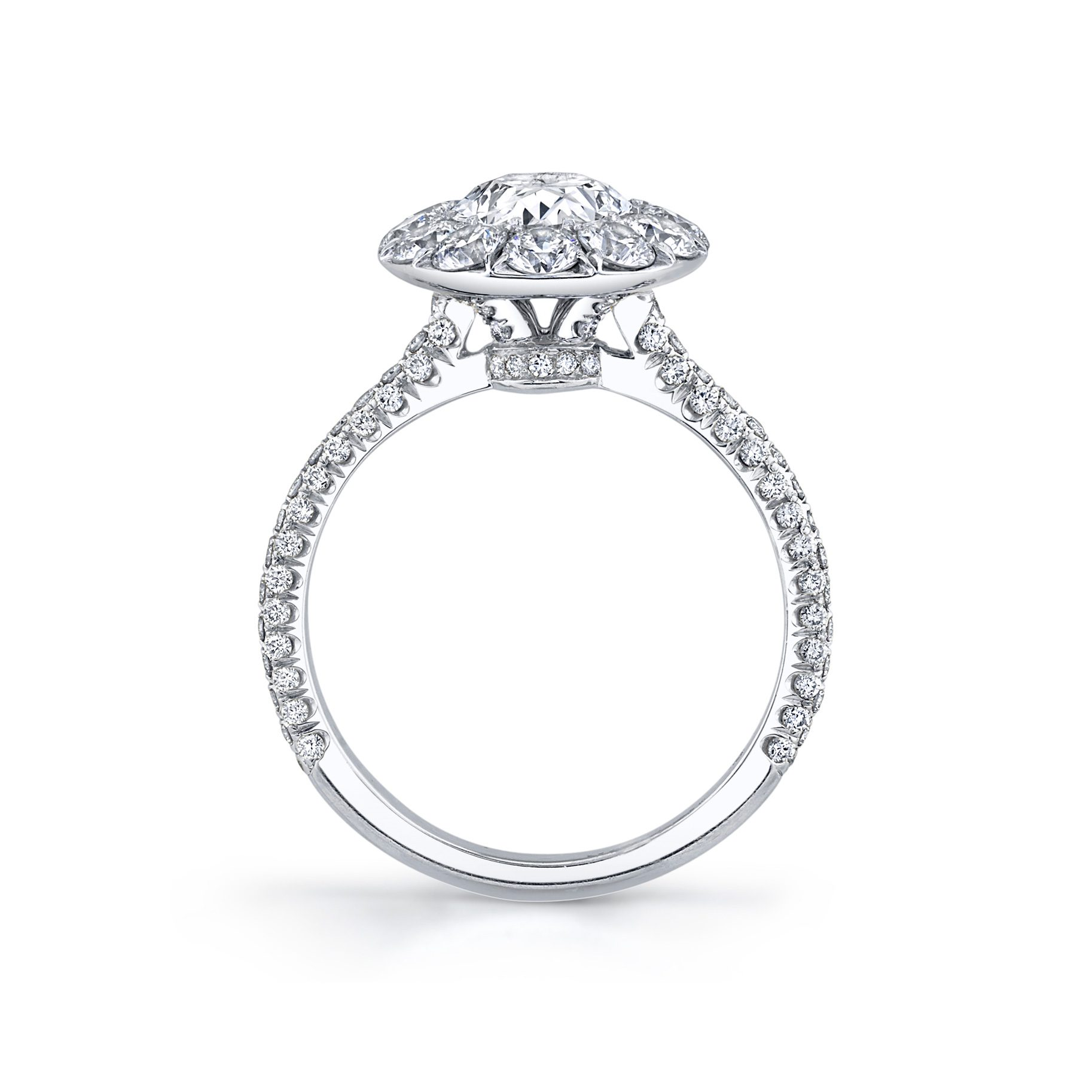 Jacqueline Oval Seamless Solitaire® Engagement Ring with diamond pavé in 18k White Gold Standing View by Oui by Jean Dousset
