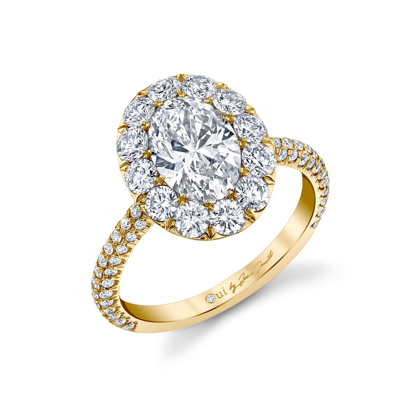 Jacqueline Oval Seamless Solitaire® Engagement Ring with diamond pavé in 18k Yellow Gold Profile View by Oui by Jean Dousset