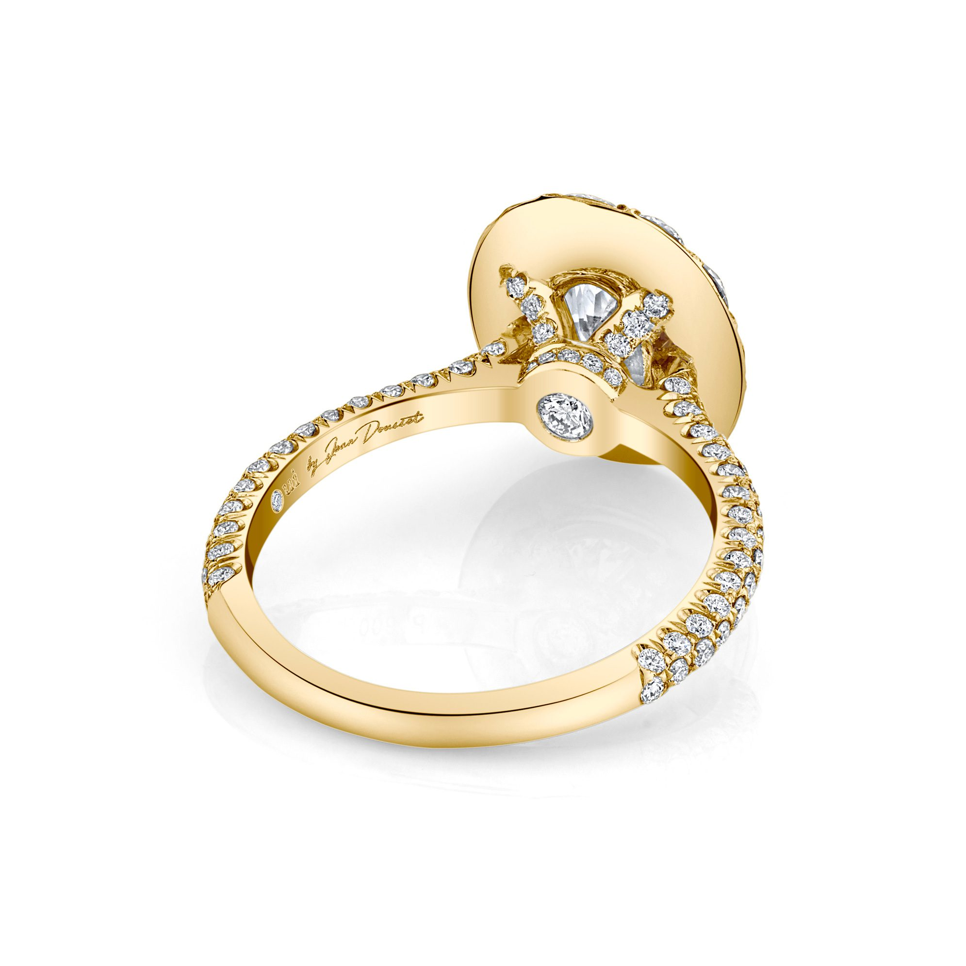 Jacqueline Oval Seamless Solitaire® Engagement Ring with diamond pavé in 18k Yellow Gold Back View by Oui by Jean Dousset