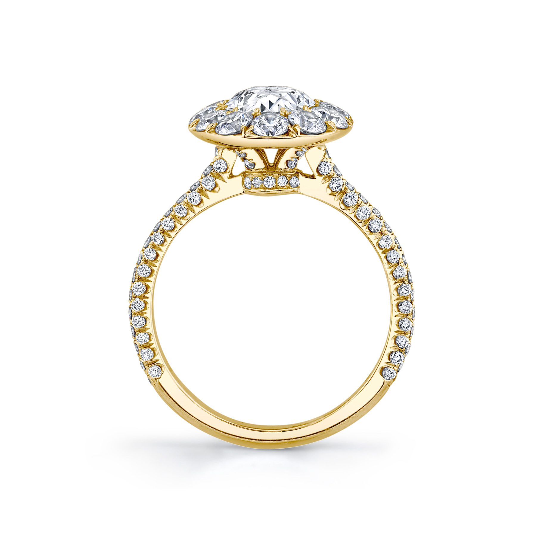 Jacqueline Oval Seamless Solitaire® Engagement Ring with diamond pavé in 18k Yellow Gold Standing View by Oui by Jean Dousset