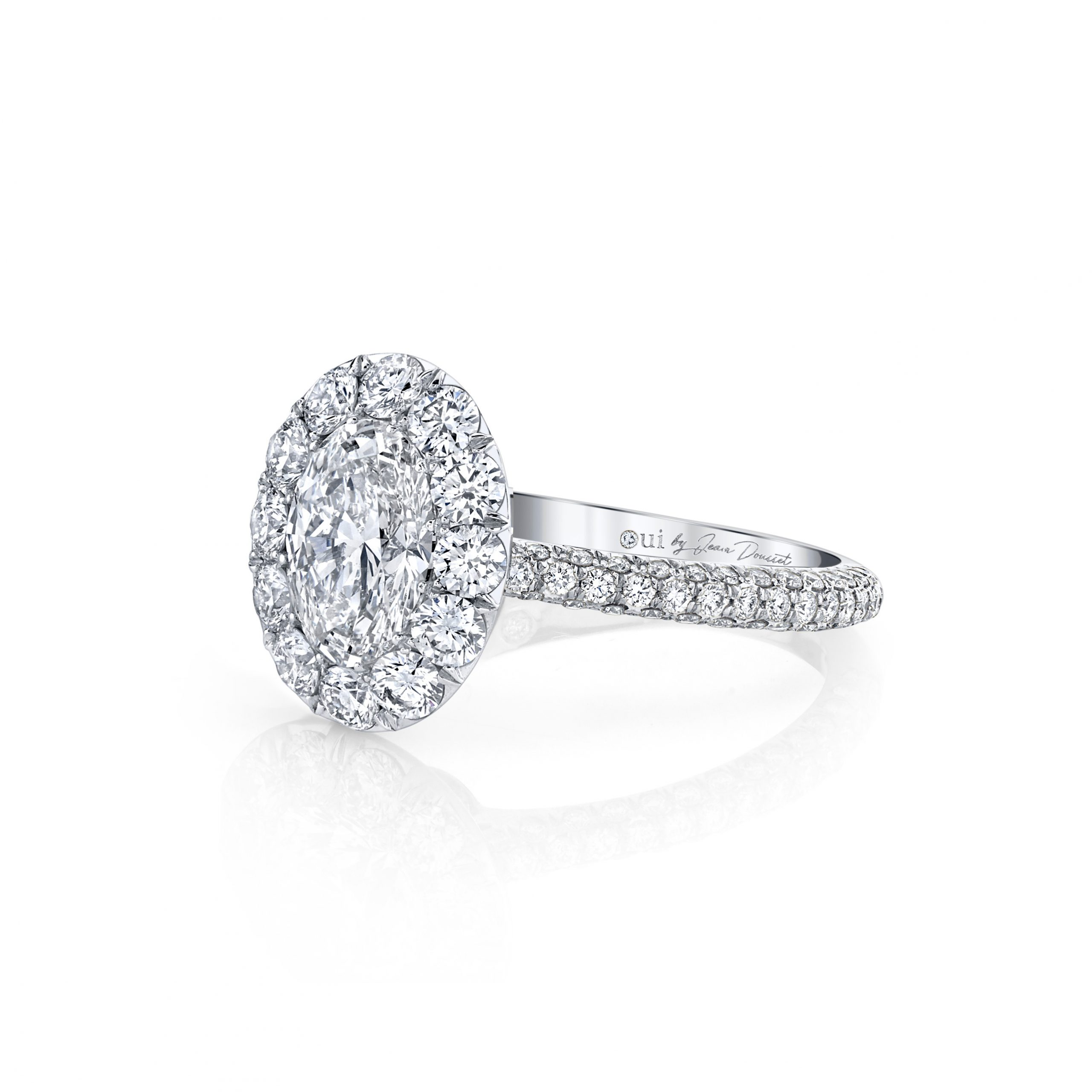 Jacqueline Oval Seamless Solitaire® Engagement Ring with diamond pavé in 18k White Gold Side View by Oui by Jean Dousset