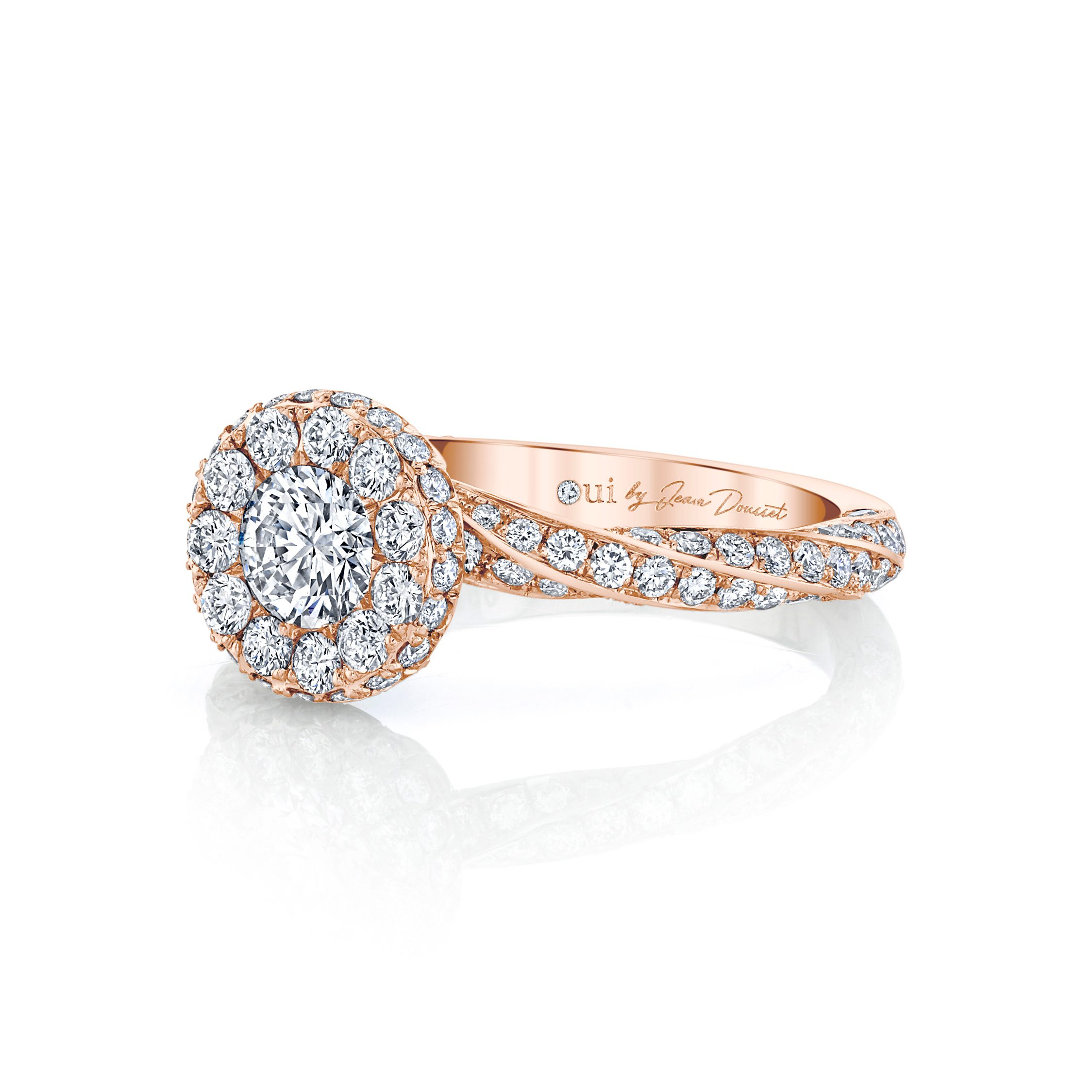 Camille Round Brilliant Seamless Halo® Engagement Ring with diamond pavé in 18k Rose Gold Side View by Oui by Jean Dousset