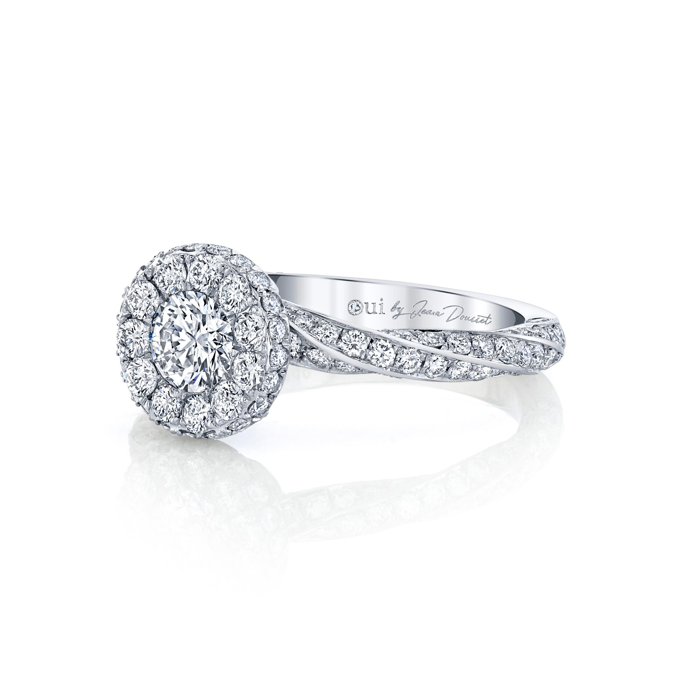 Camille Round Brilliant Seamless Halo® Engagement Ring with diamond pavé in 18k White Gold Side View by Oui by Jean Dousset