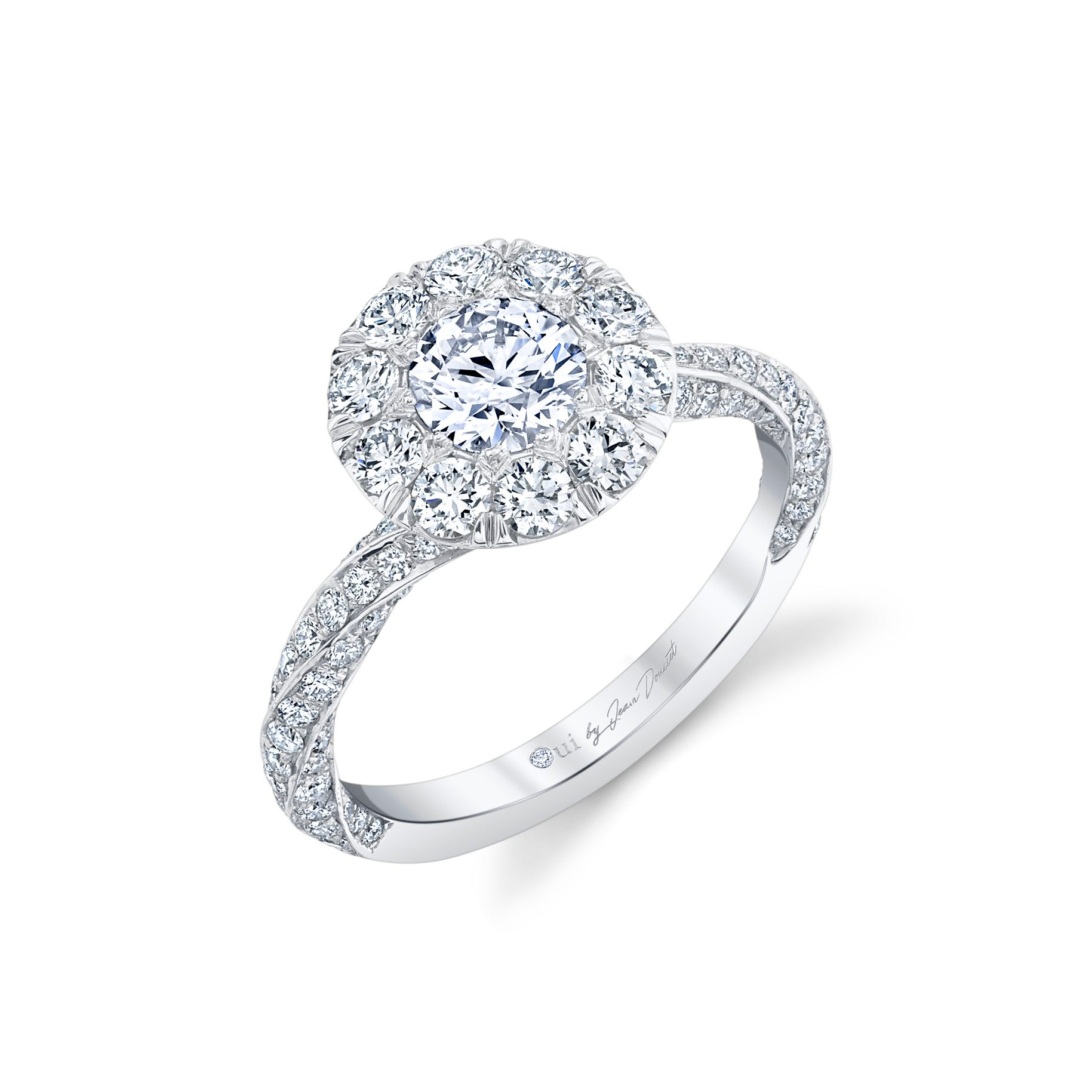 Camille Floating Round Brilliant Seamless Solitaire™ Engagement Ring with diamond pavé in 18k White Gold Back View by Oui by Jean Dousset