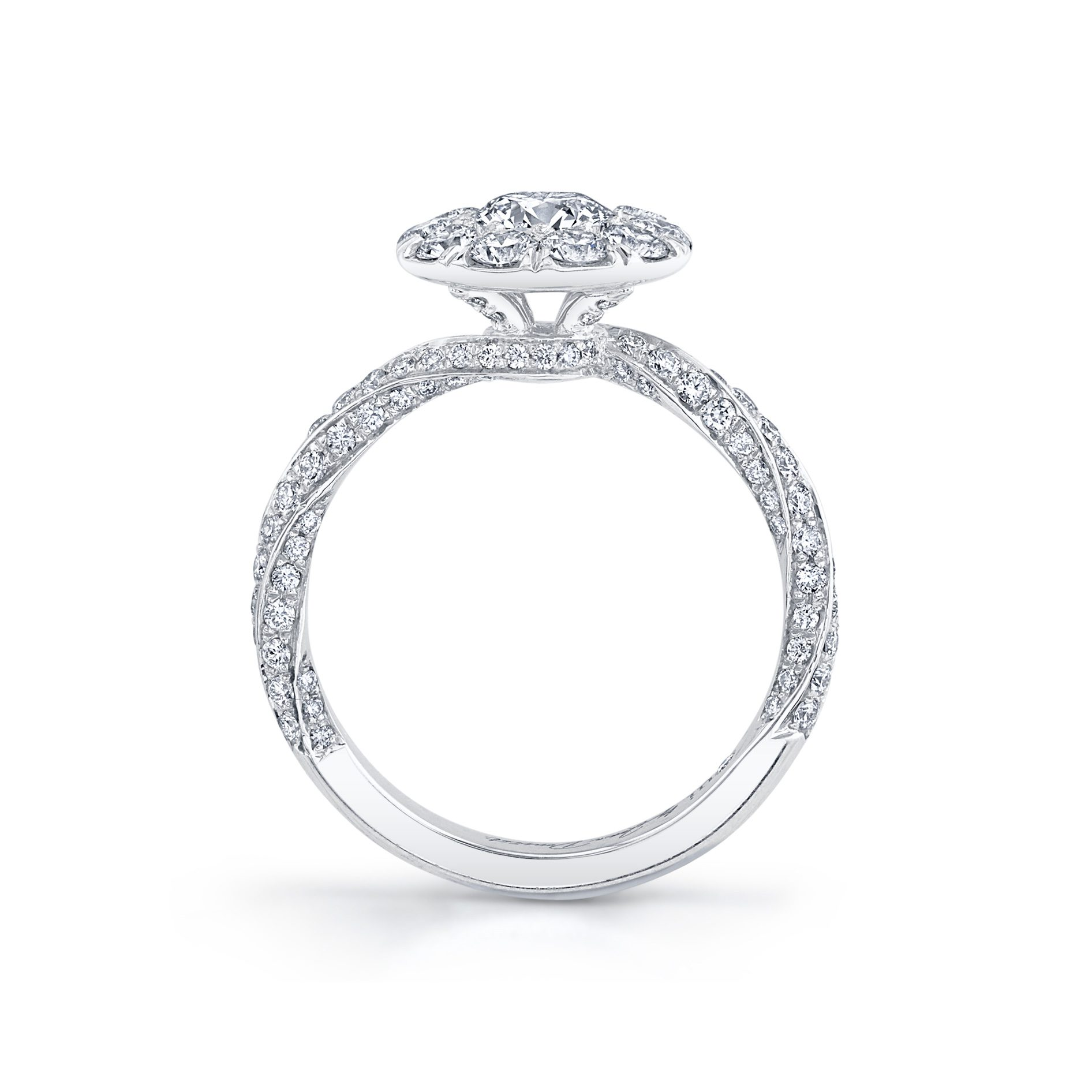 Camille Floating Round Brilliant Seamless Solitaire™ Engagement Ring with diamond pavé in 18k White Gold Standing View by Oui by Jean Dousset