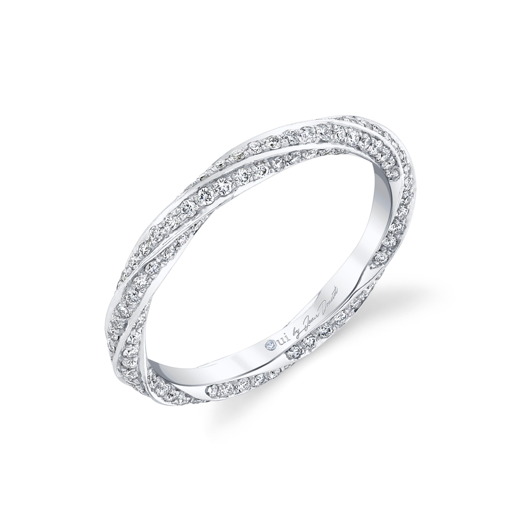 Camille Women's Wedding Band with a diamond pavé twist in 18k White Gold Standing View by Oui by Jean Dousset