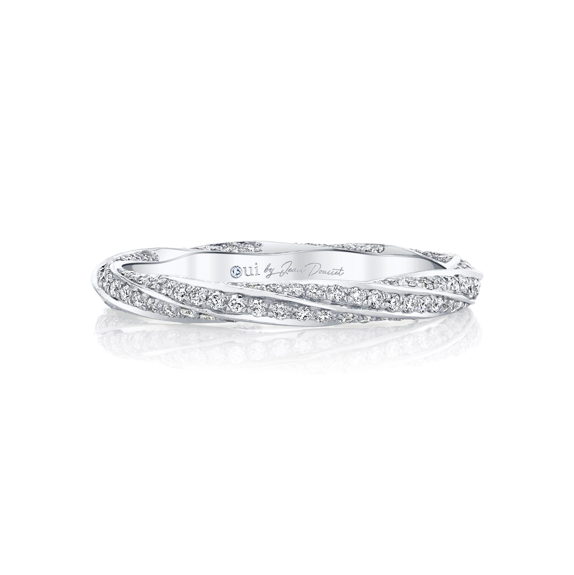 Camille Women's Wedding Band with a diamond pavé twist in 18k White Gold Front View by Oui by Jean Dousset