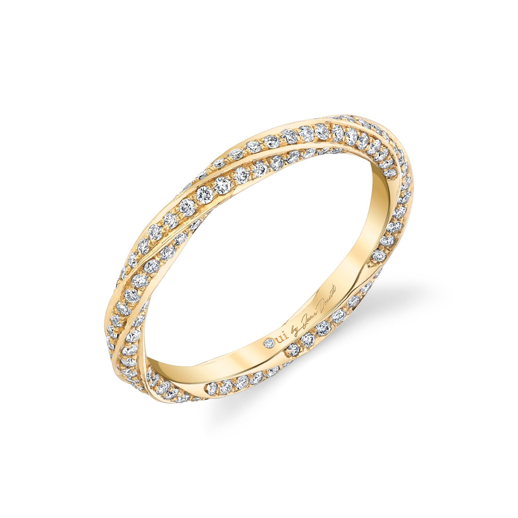 Camille Women's Wedding Band with a diamond pavé twist in 18k Yellow Gold Standing View by Oui by Jean Dousset