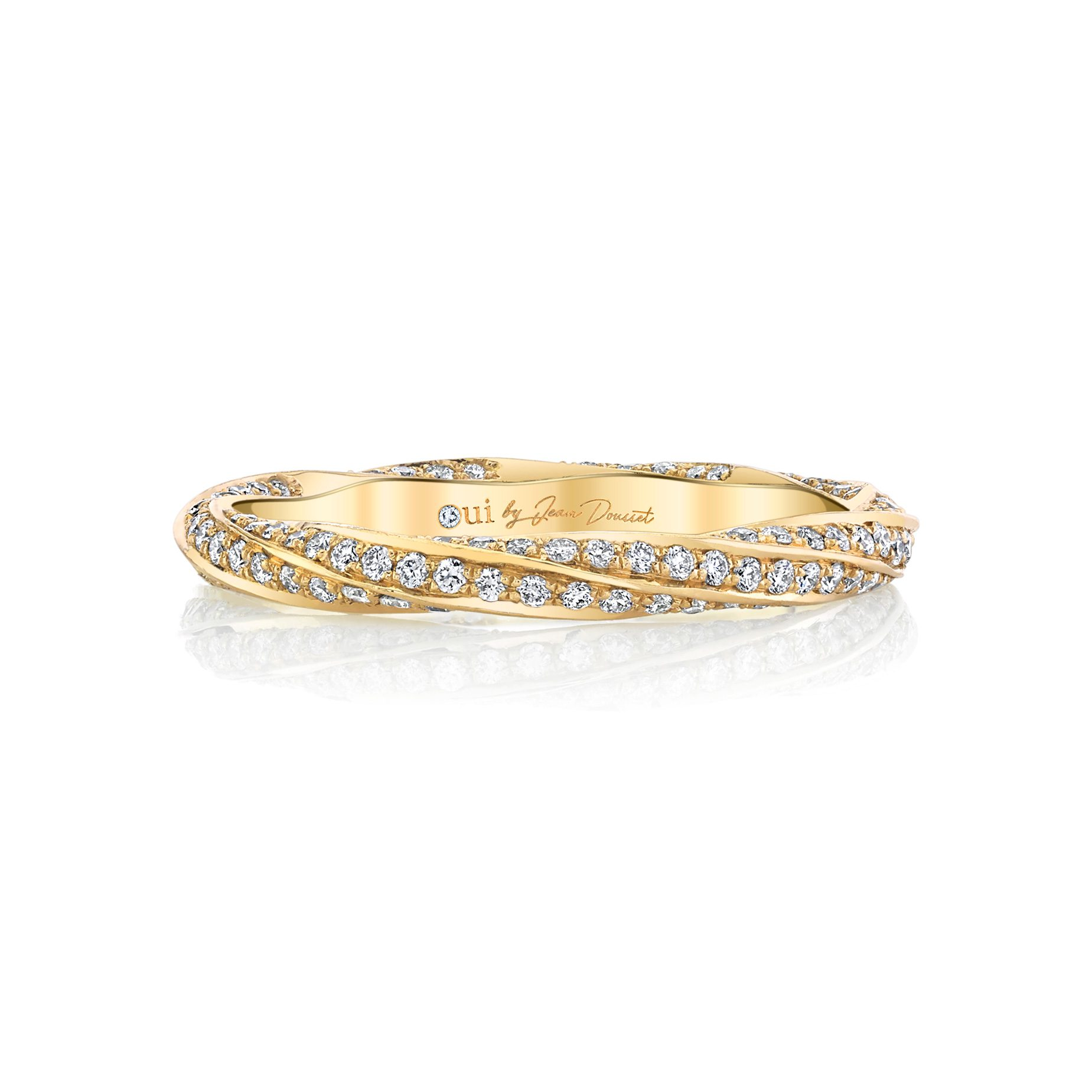 Camille Women's Wedding Band with a diamond pavé twist in 18k Yellow Gold Front View by Oui by Jean Dousset