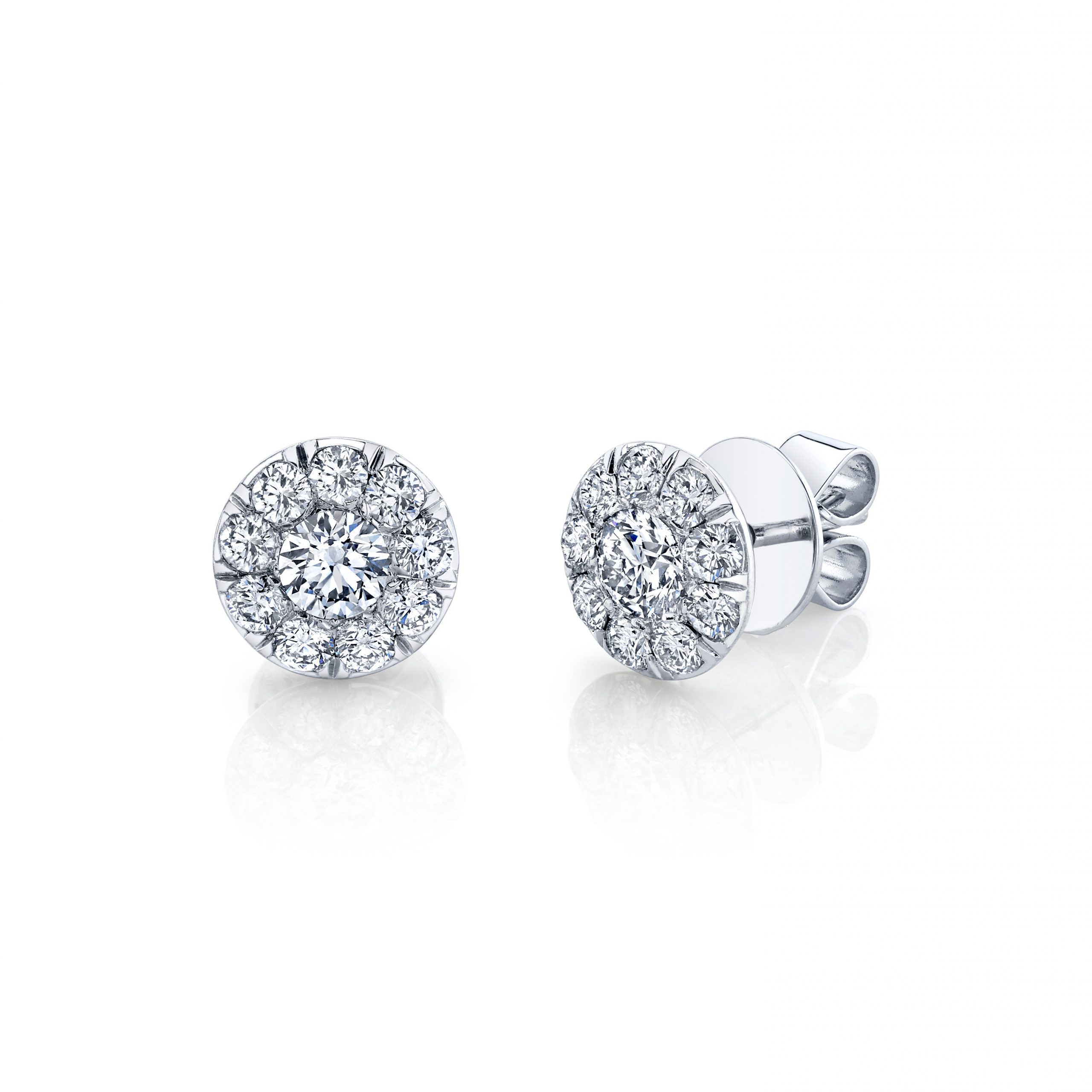 Celine Round Brilliant Seamless Solitaire® Diamond Stud Earrings in 18k White Gold Side View by Oui by Jean Dousset