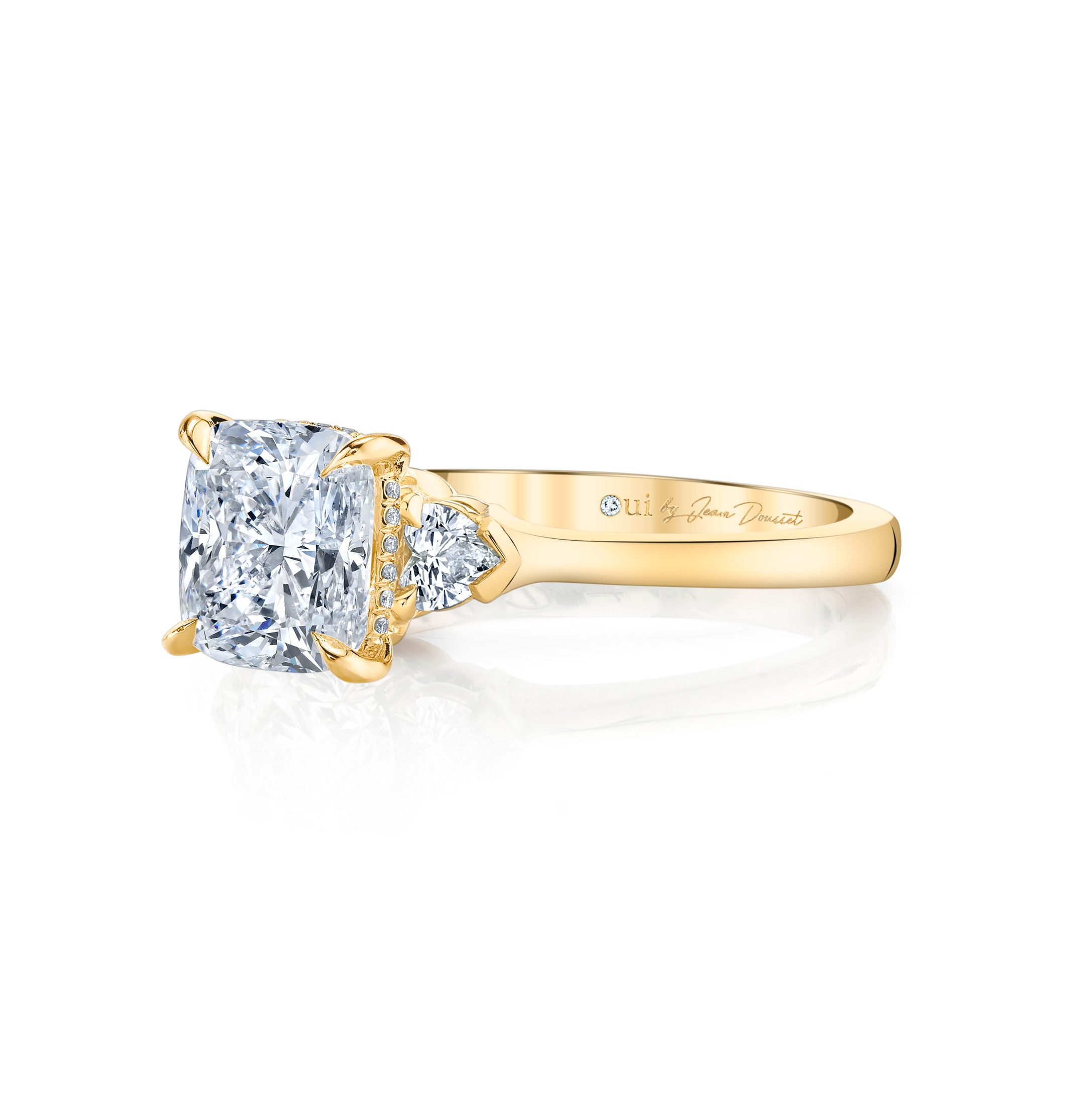 Claire Cushion Three Stone Engagement Ring with heart-shaped diamond side stones in 18k Yellow Gold by Oui Side View by Jean Dousset