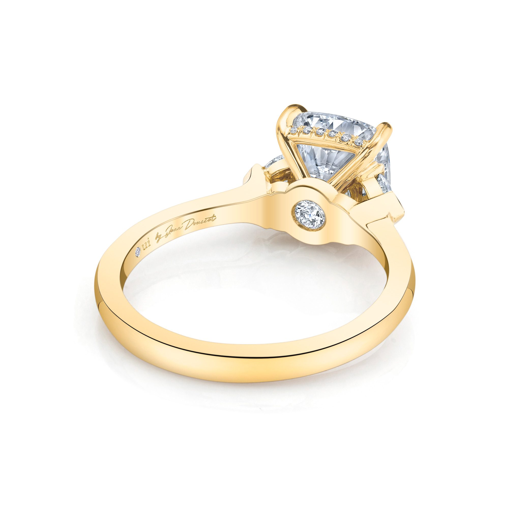 Claire Cushion Three Stone Engagement Ring with heart-shaped diamond side stones in 18k Yellow Gold Back View by Oui by Jean Dousset