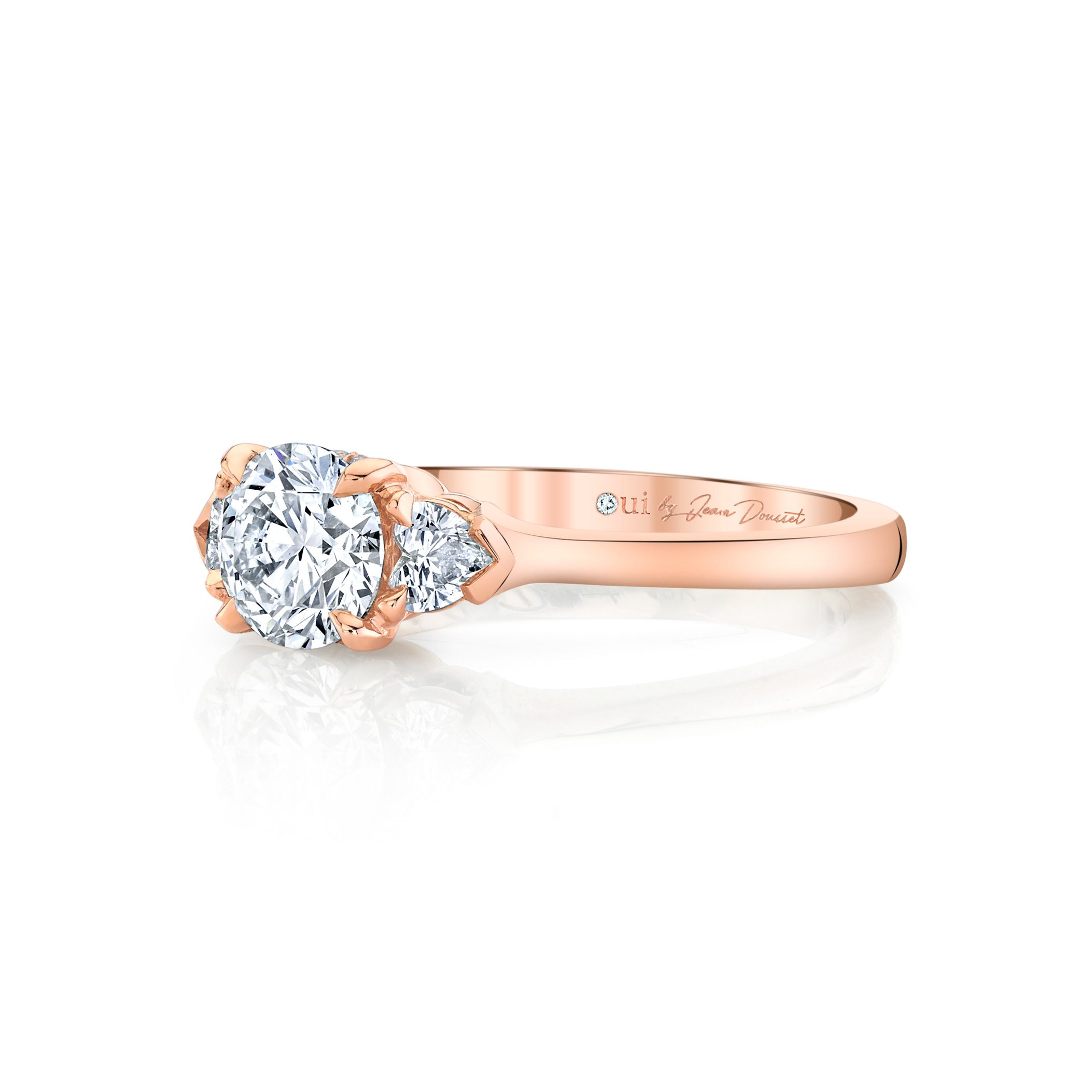 Claire Round Brilliant Three Stone Engagement Ring with heart-shaped diamond side stones in 18k Rose Gold Side View by Oui by Jean Dousset
