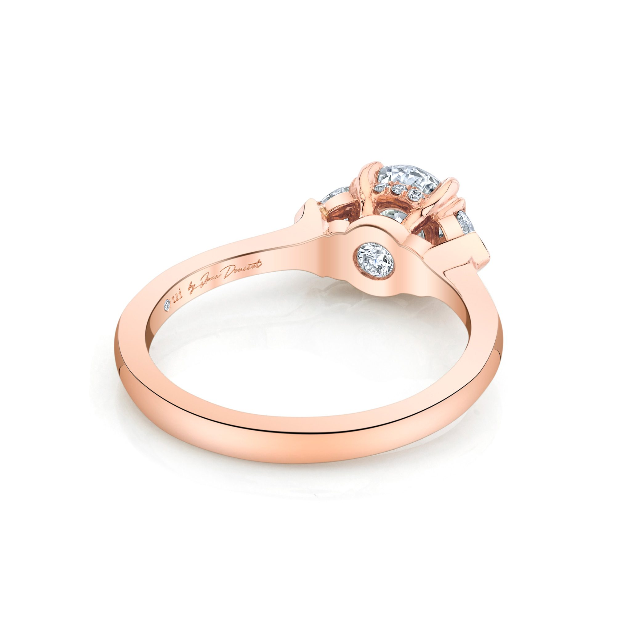 Claire Round Brilliant Three Stone Engagement Ring with heart-shaped diamond side stones in 18k Rose Gold Back View by Oui by Jean Dousset