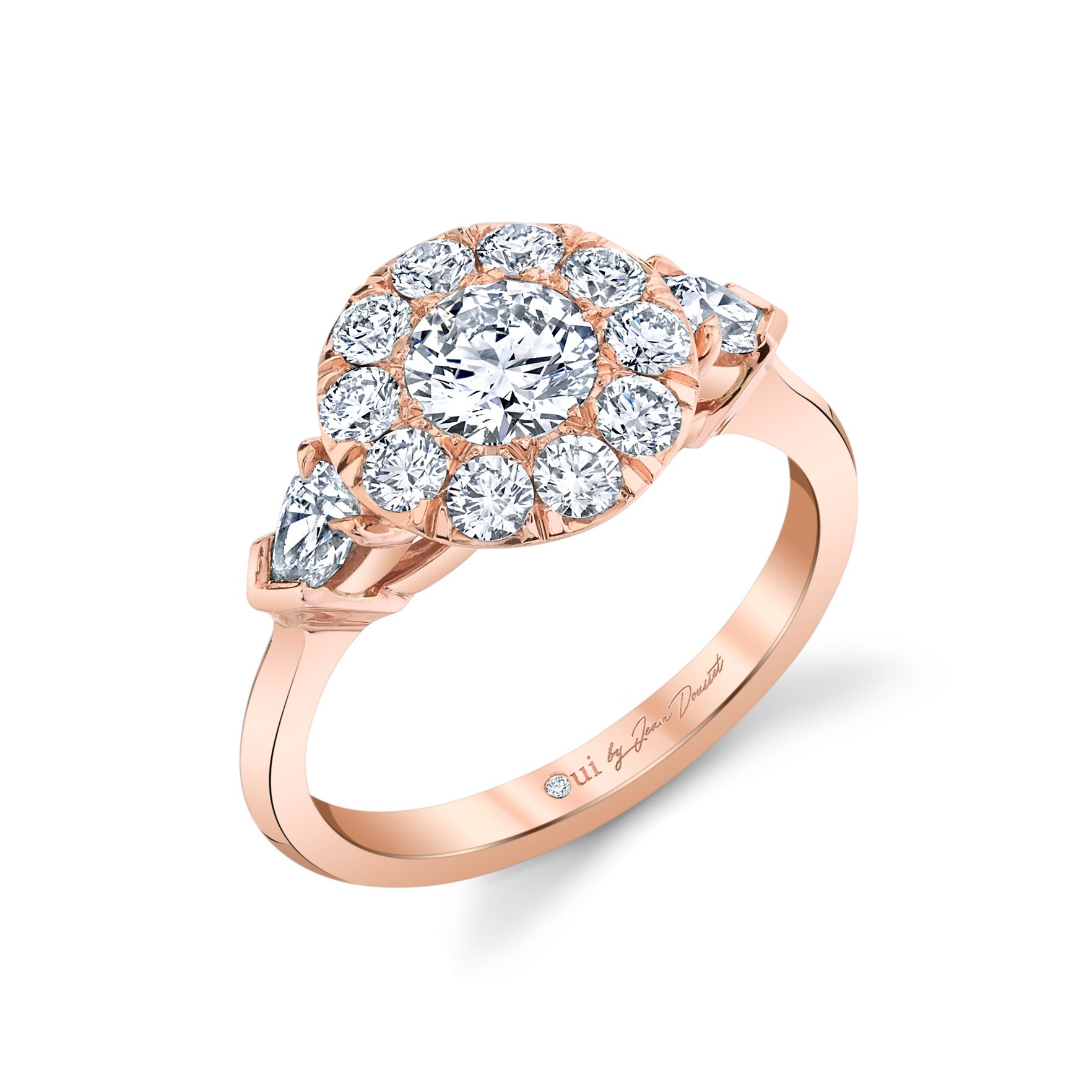 Clementine Round Brilliant Seamless Solitaire® Three Stone Engagement Ring with pear-shaped diamond side stones in 18k Rose Gold Profile View by Oui by Jean Dousset