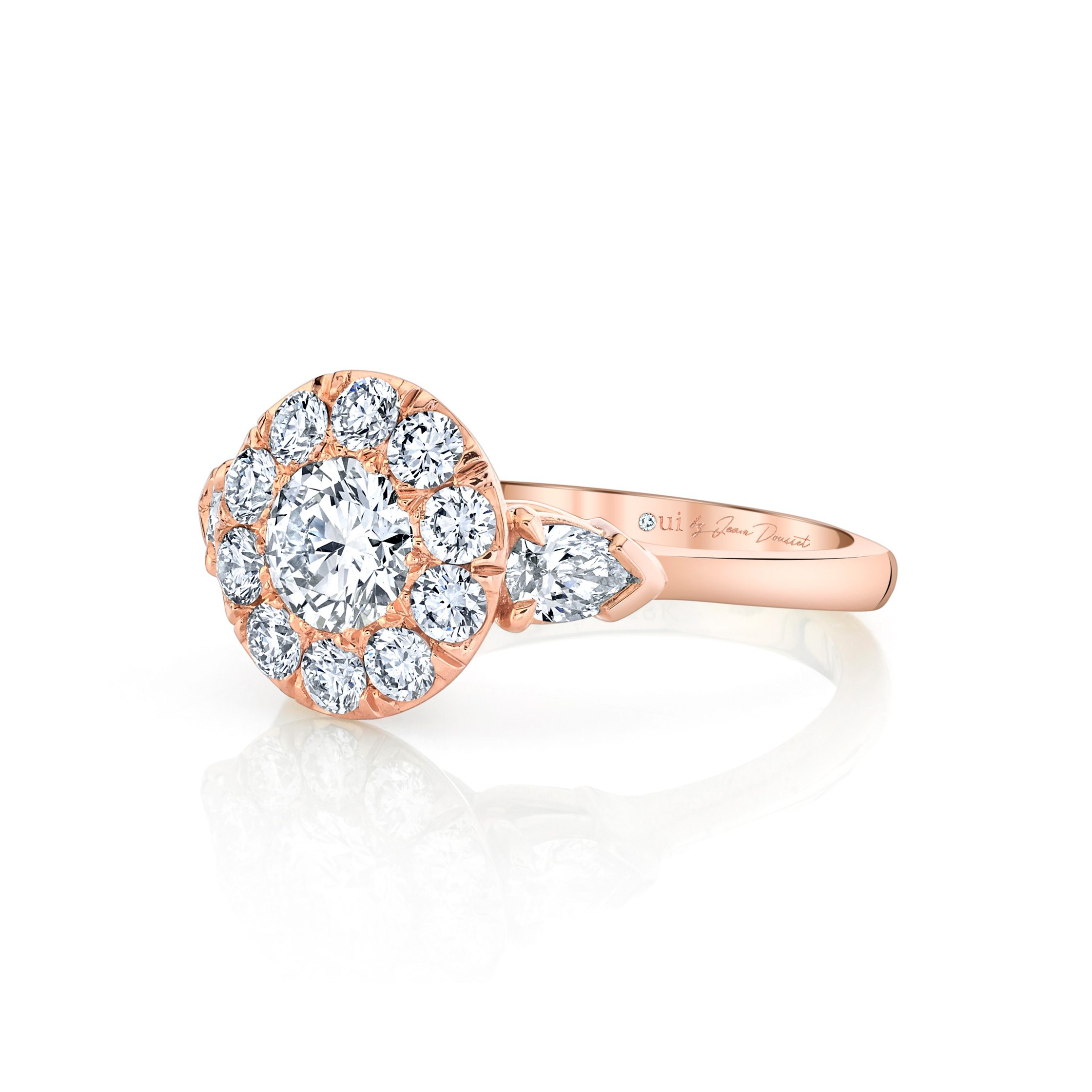 Clementine Round Brilliant Seamless Solitaire® Three Stone Engagement Ring with pear-shaped diamond side stones in 18k Rose Gold Side View by Oui by Jean Dousset