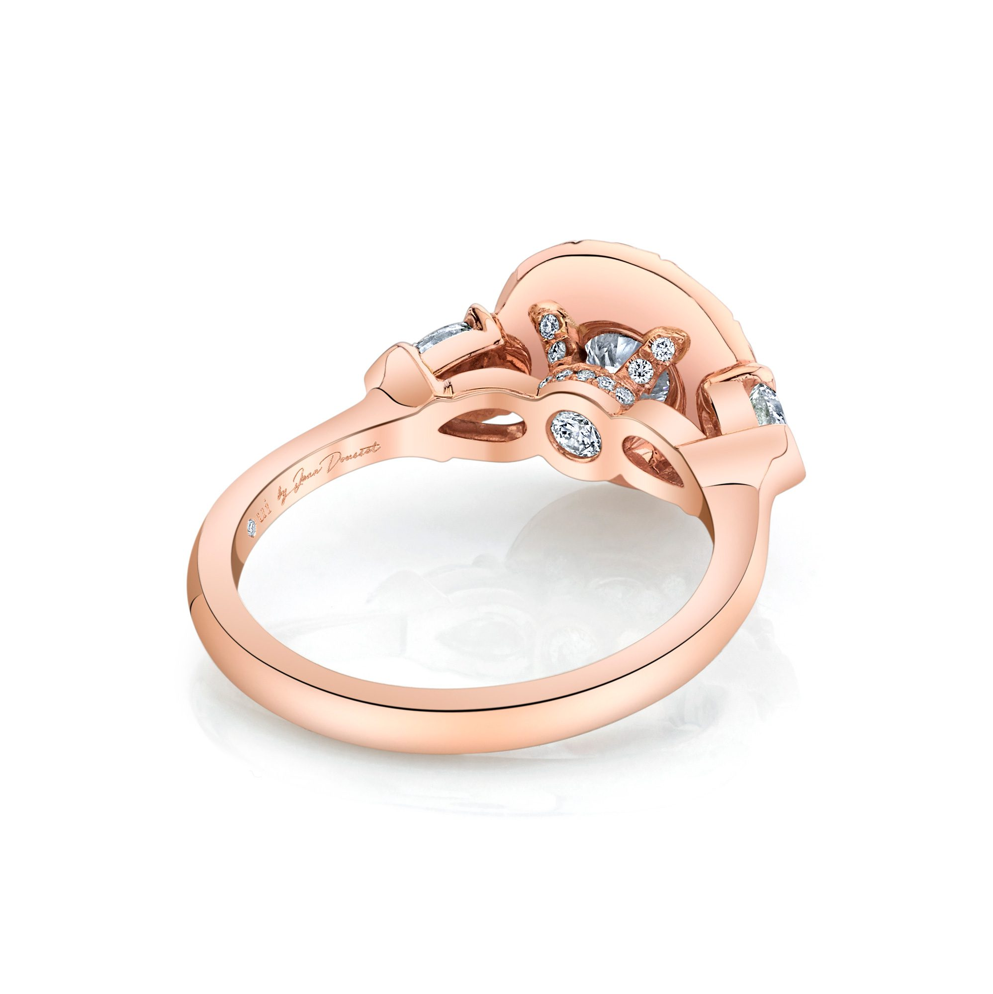 Clementine Round Brilliant Seamless Solitaire® Three Stone Engagement Ring with pear-shaped diamond side stones in 18k Rose Gold Back View by Oui by Jean Dousset