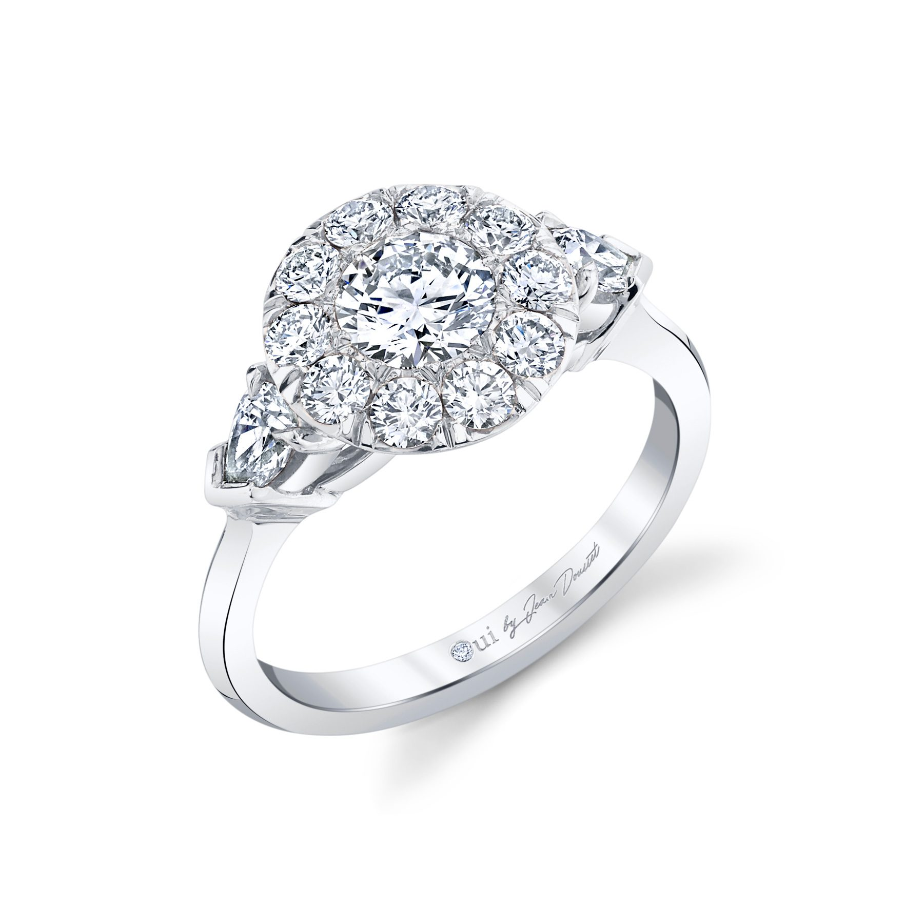 Clementine Round Brilliant Seamless Solitaire® Three Stone Engagement Ring with pear-shaped diamond side stones in 18k White Gold by Oui by Jean Dousset