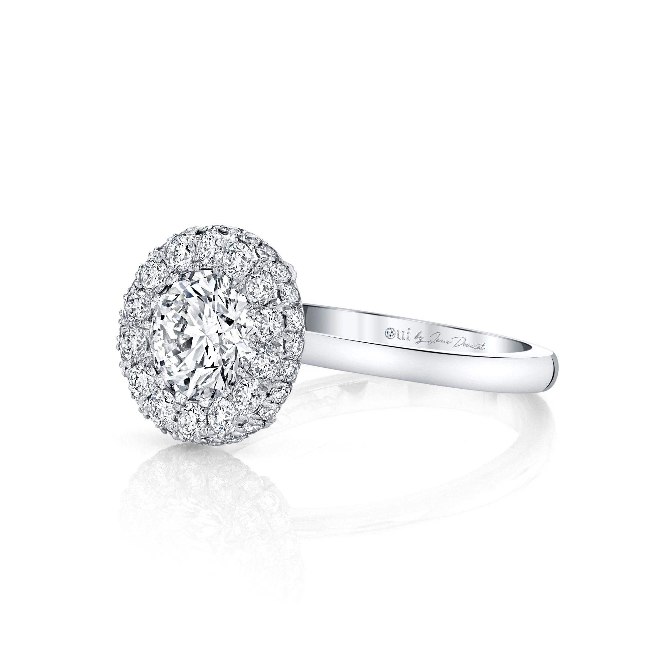 Colette Round Brilliant Seamless Halo® Engagement Ring with a solid band in 18k White Gold Side View by Oui by Jean Dousset