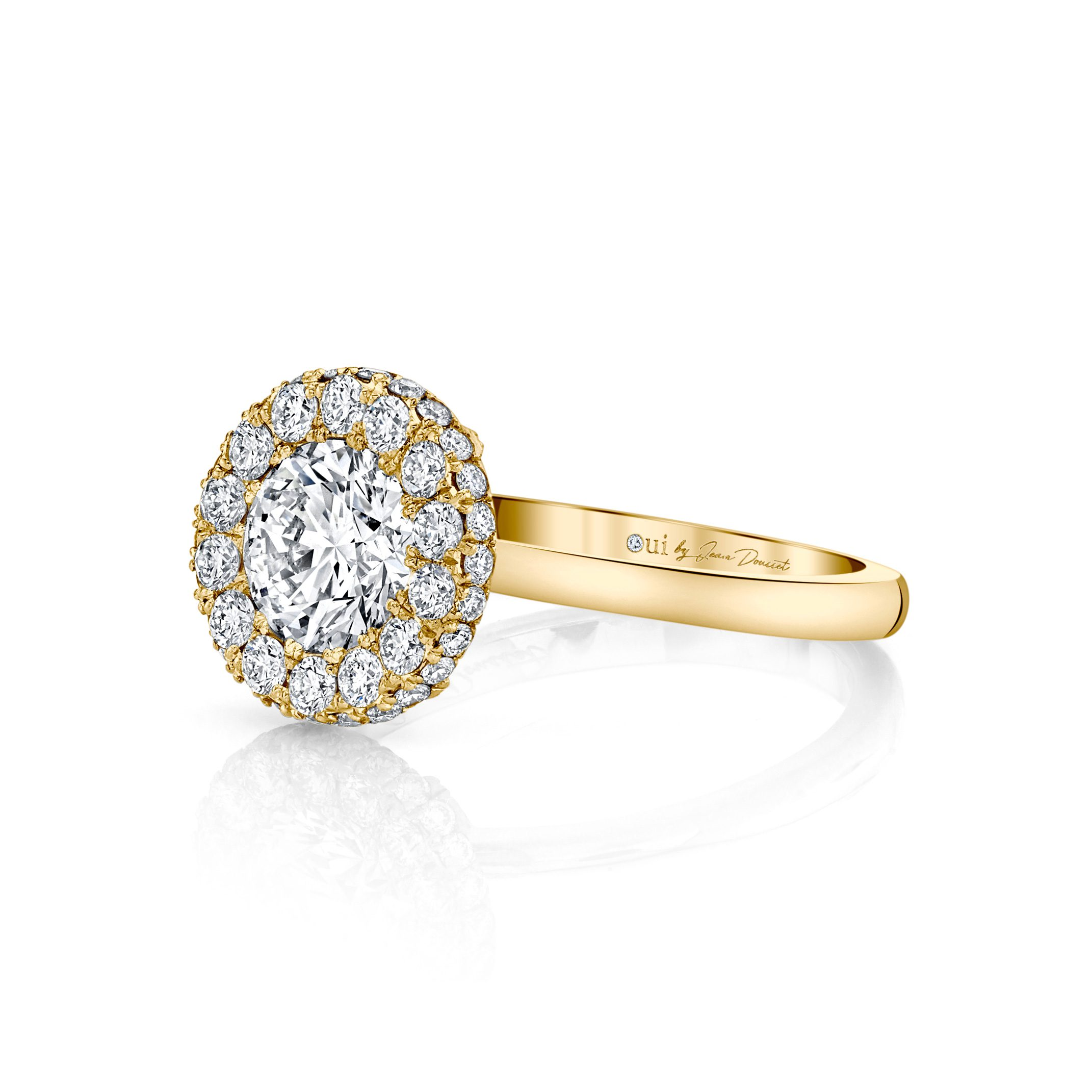 Colette Round Brilliant Seamless Halo® Engagement Ring with a solid band in 18k Yellow Gold Side View by Oui by Jean Dousset