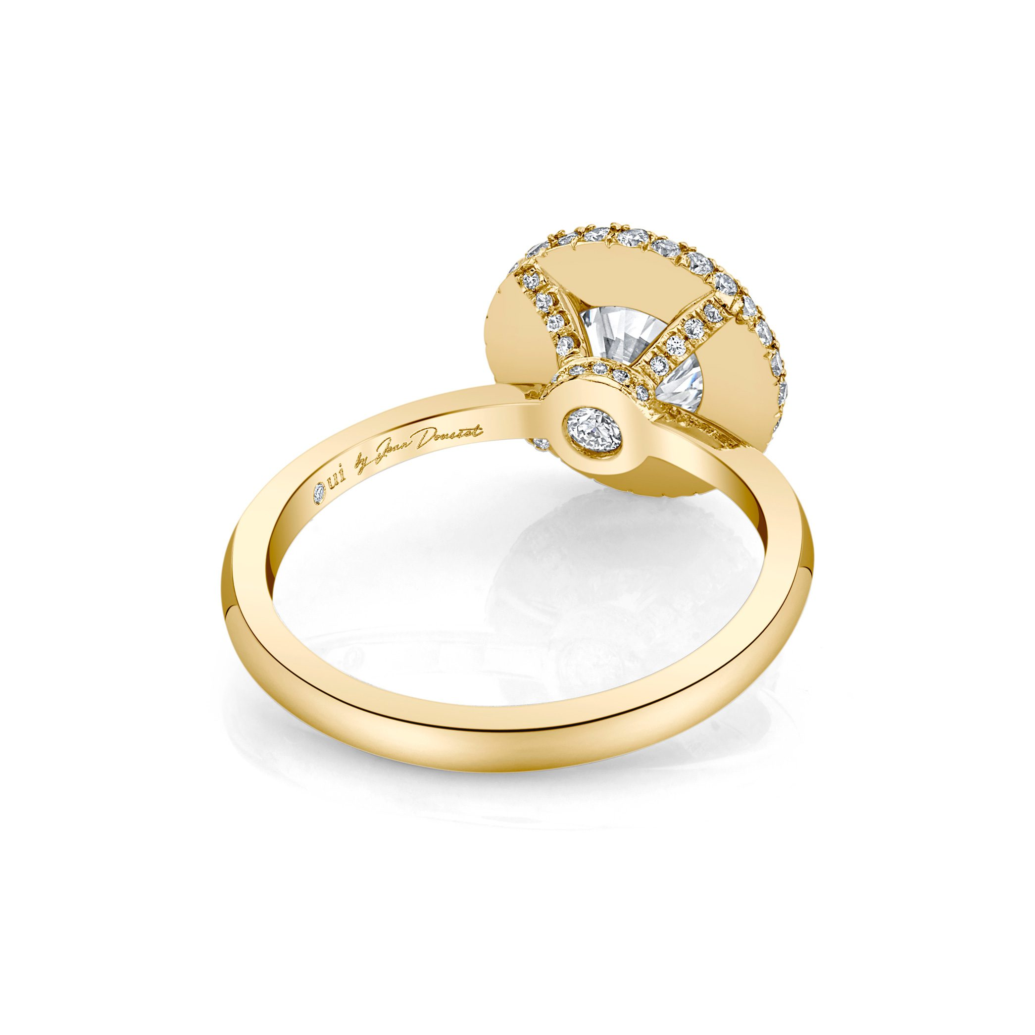 Colette Round Brilliant Seamless Halo® Engagement Ring with a solid band in 18k Yellow Gold Back View by Oui by Jean Dousset