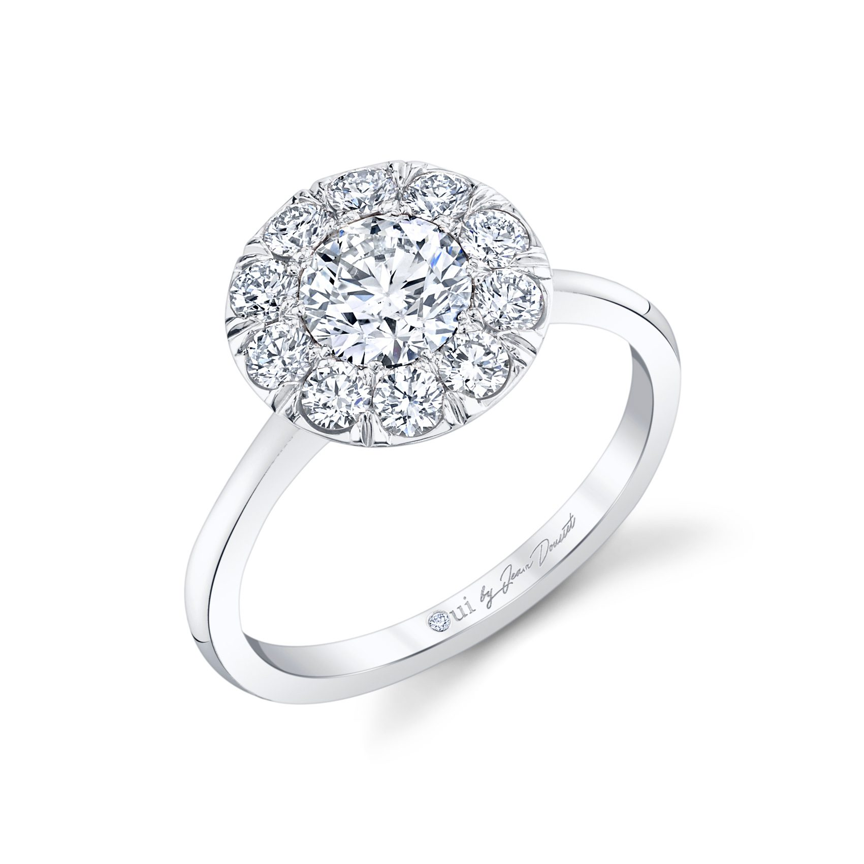 Colette Floating Round Brilliant Seamless Solitaire® Engagement Ring with a sold band in 18k White Gold Profile View by Oui by Jean Dousset