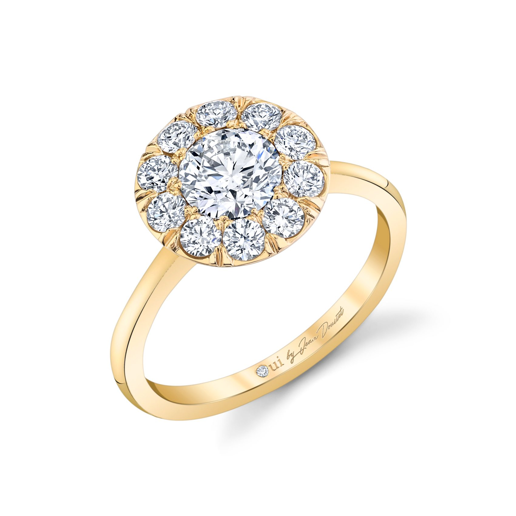 Colette Floating Round Brilliant Seamless Solitaire® Engagement Ring with a sold band in 18k Yellow Gold Profile View by Oui by Jean Dousset