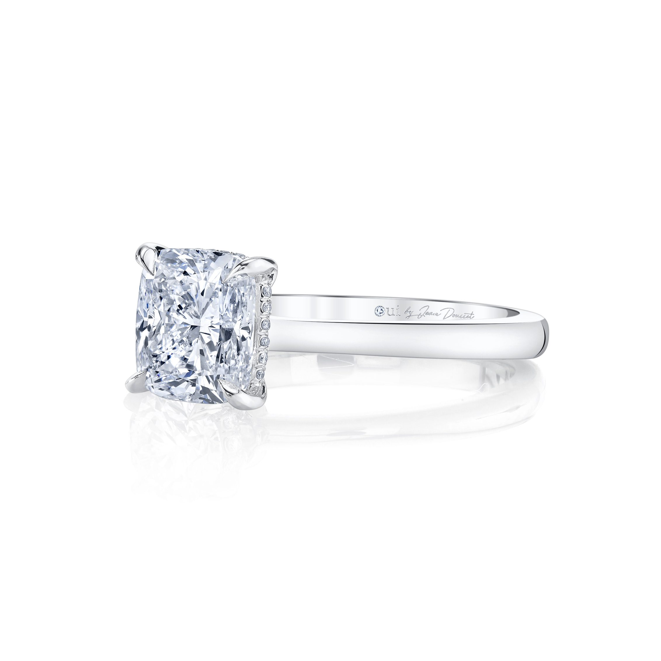 Colette Cushion Solitaire Engagement Ring with a sold band in 18k White Gold Side Shot by Oui by Jean Dousset