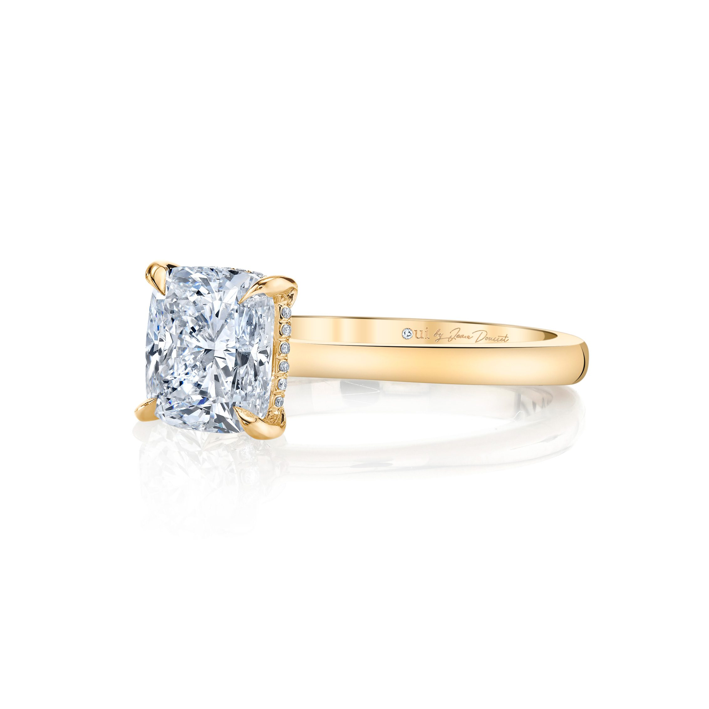 Colette Cushion Solitaire Engagement Ring with a sold band in 18k Yellow Gold Side Shot by Oui by Jean DoussetColette Cushion Solitaire Engagement Ring with a sold band in 18k Yellow Gold by Oui by Jean Dousset