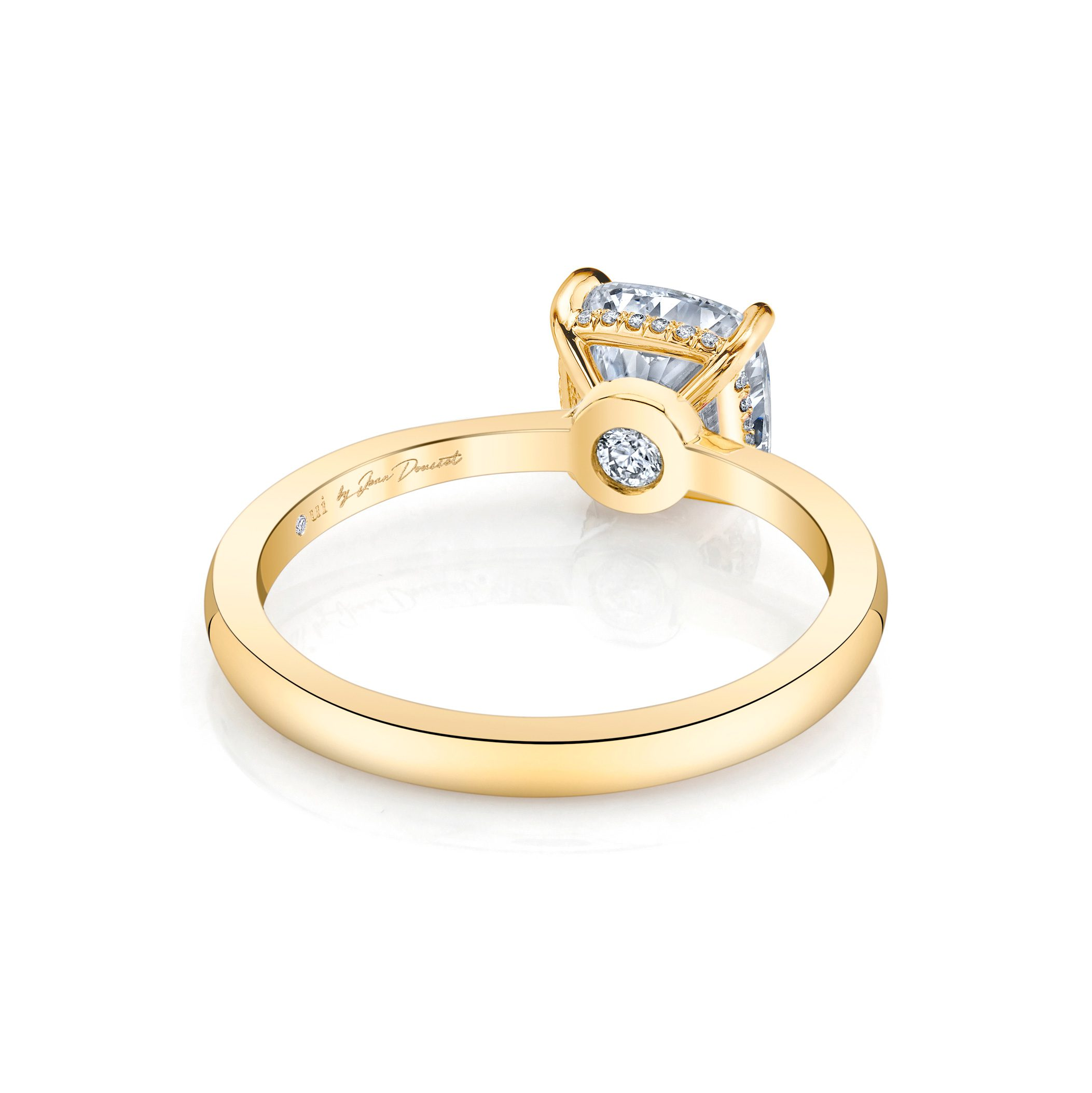 Colette Cushion Solitaire Engagement Ring with a sold band in 18k Yellow Gold Back Shot by Oui by Jean Dousset