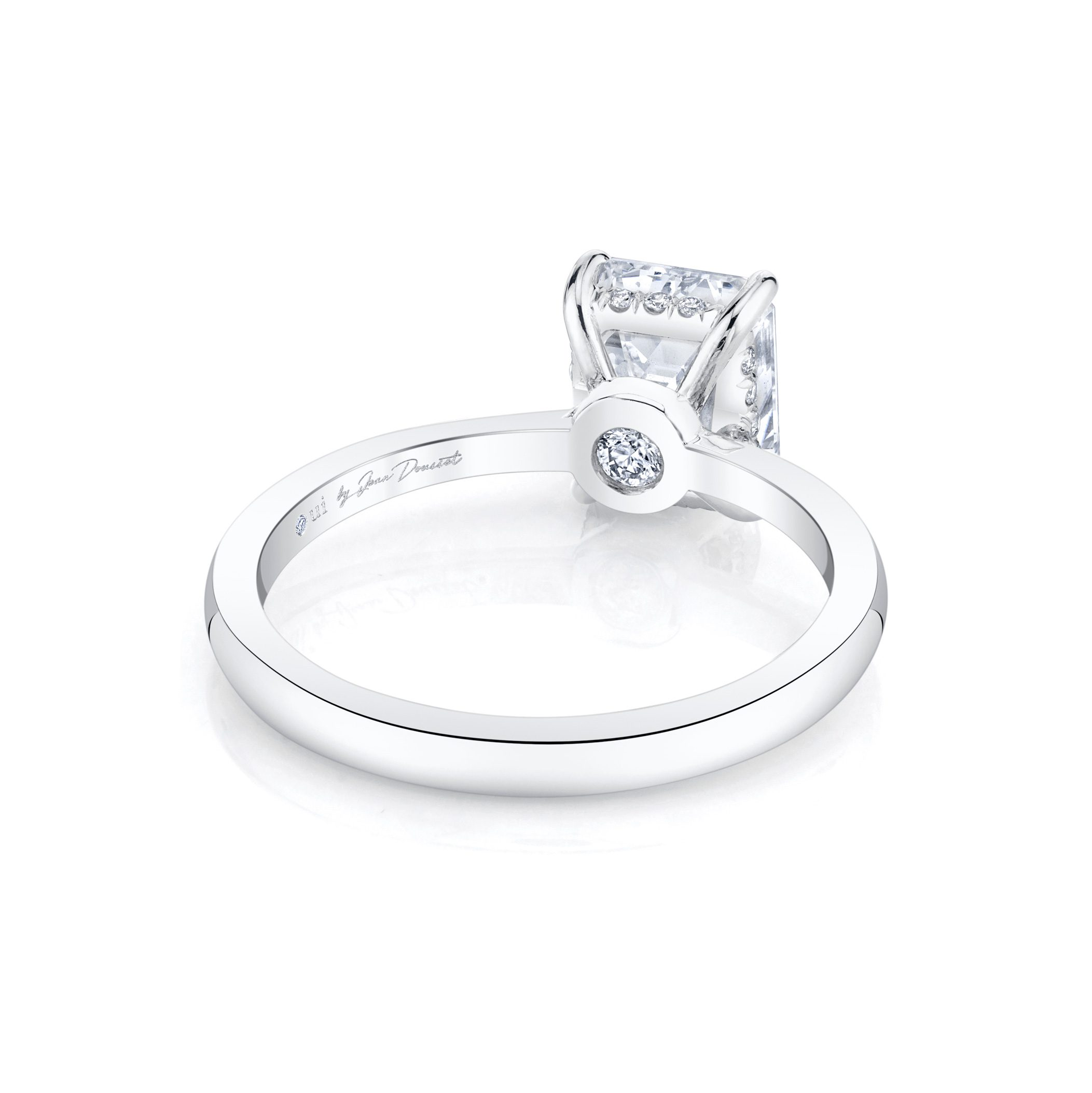 Colette Emerald Solitaire Engagement Ring with a sold band in 18k White Gold Back Shot by Oui by Jean Dousset