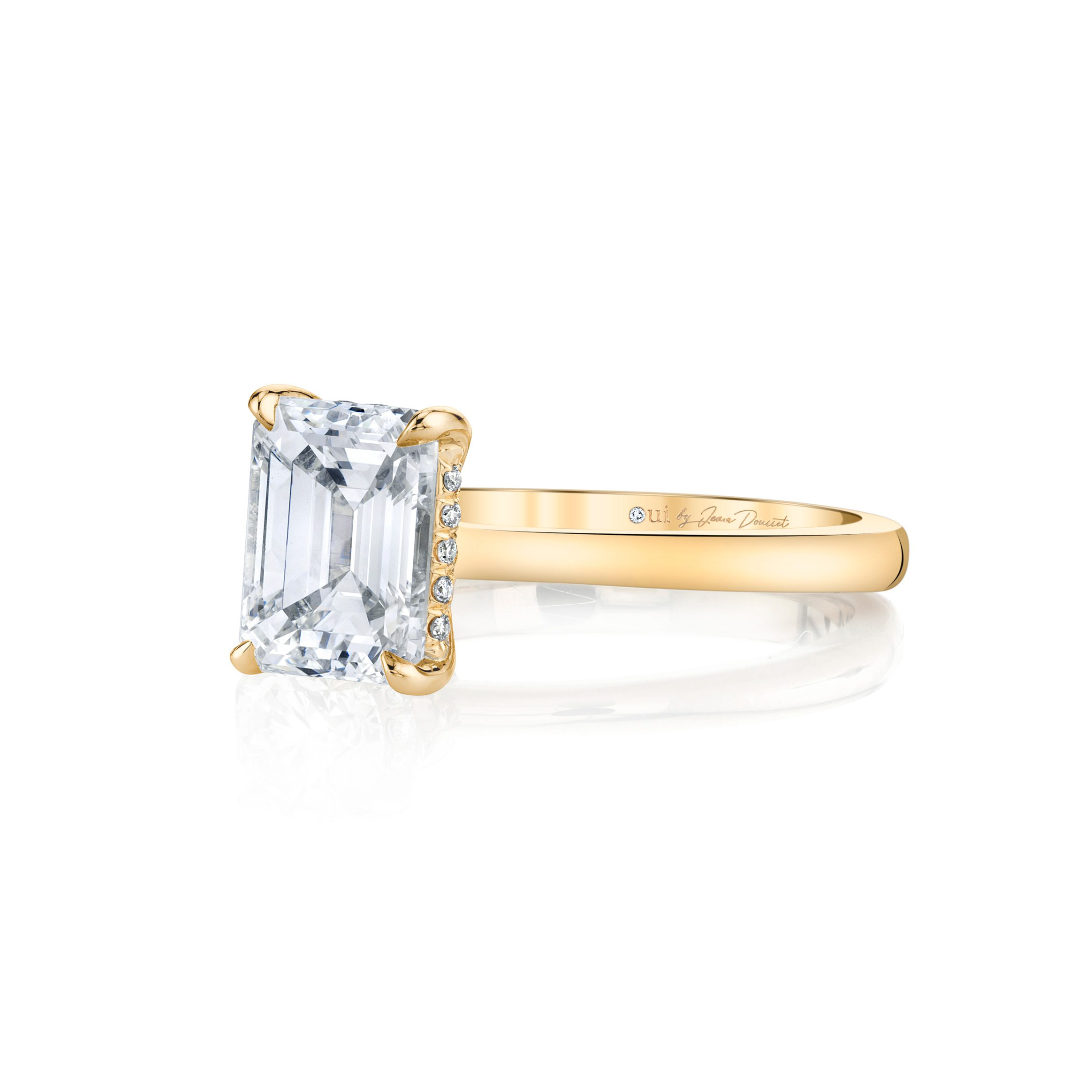 Colette Emerald Solitaire Engagement Ring with a sold band in 18k Yellow Gold Side Shot by Oui by Jean Dousset