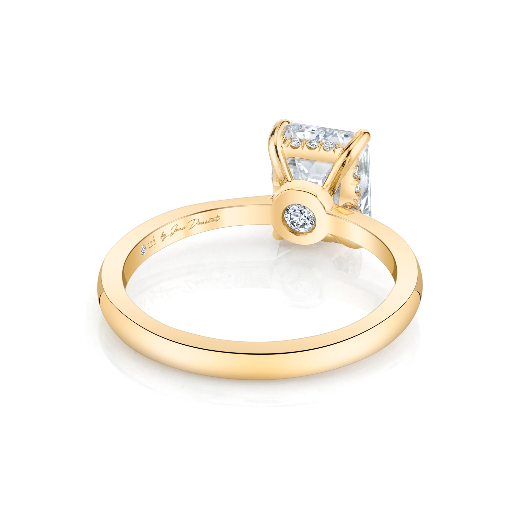 Colette Emerald Solitaire Engagement Ring with a sold band in 18k Yellow Gold Back Shot by Oui by Jean Dousset