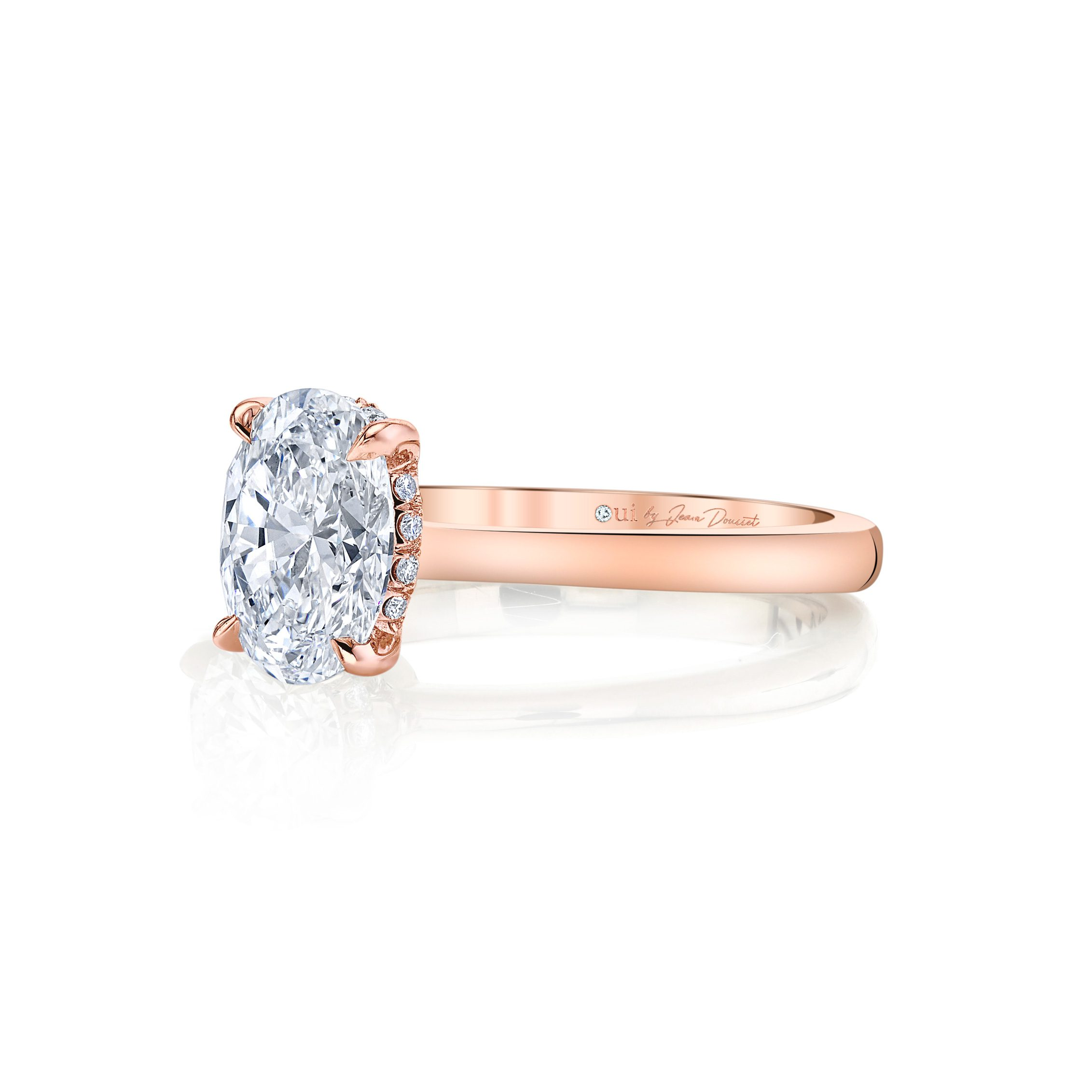 Colette Oval Solitaire Engagement Ring with a sold band in 18k Rose Gold Side Shot by Oui by Jean Dousset