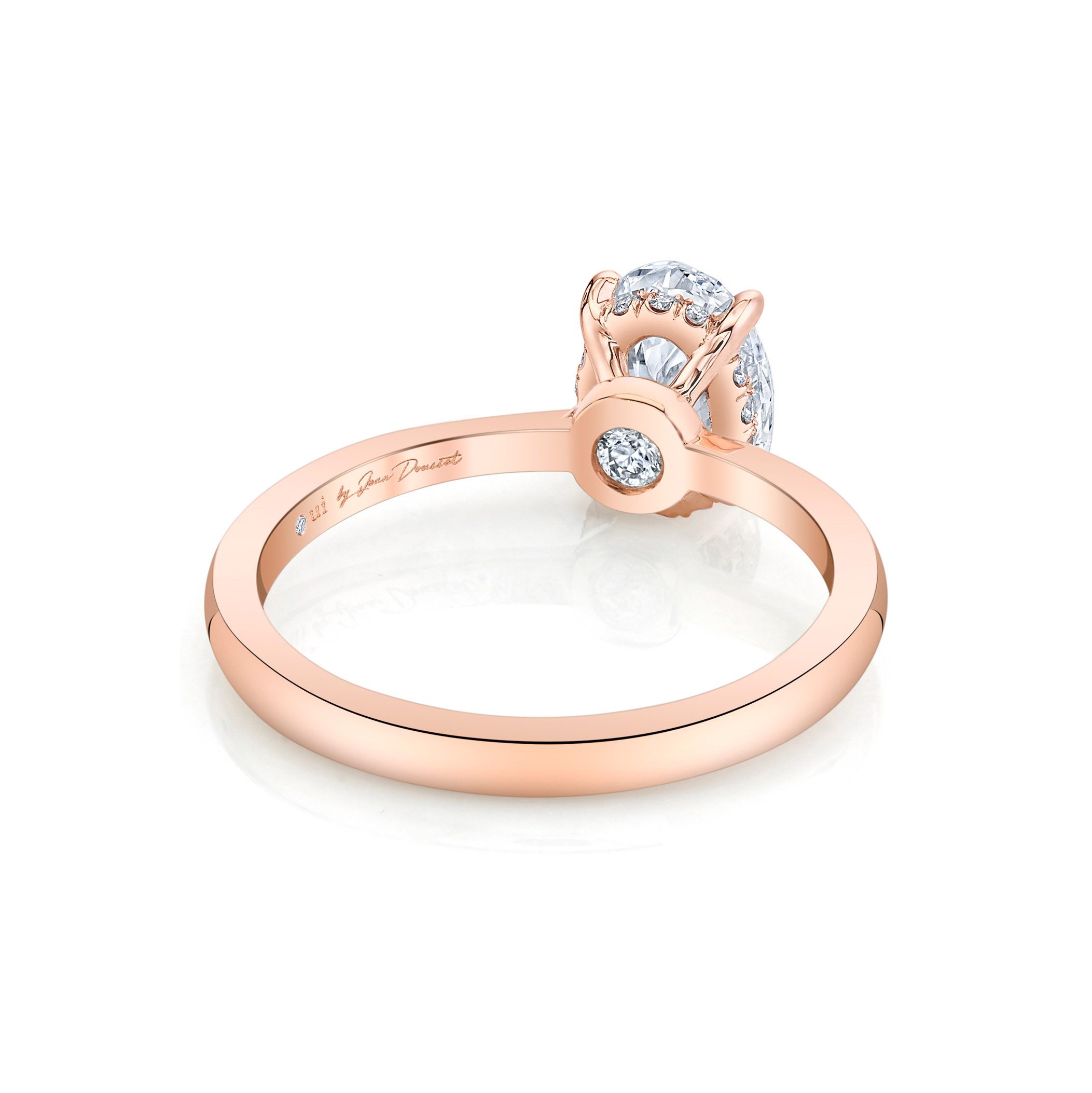 Colette Oval Solitaire Engagement Ring with a sold band in 18k Rose Gold Back Shot by Oui by Jean Dousset