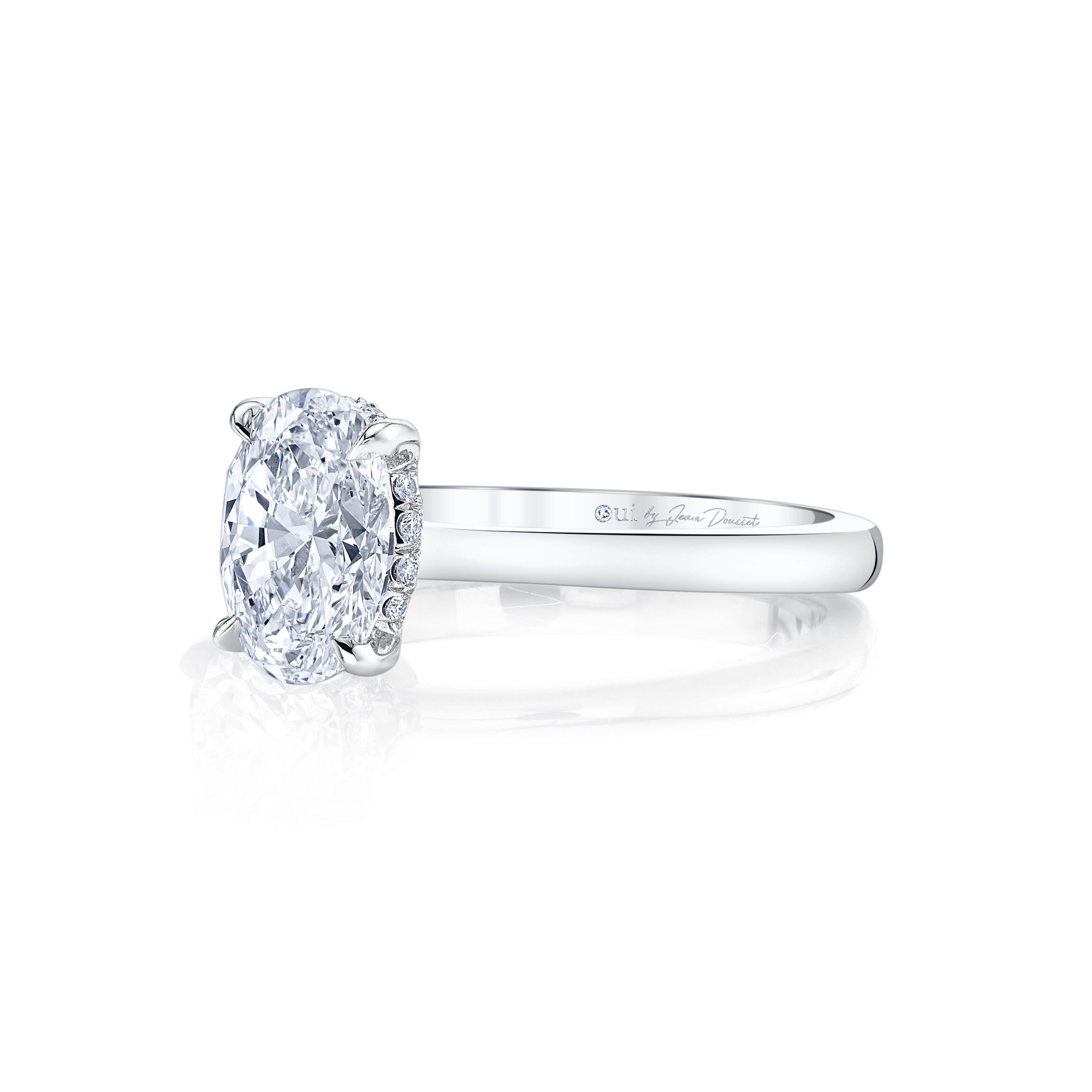 Colette Oval Solitaire Engagement Ring with a sold band in 18k White Gold Side Shot by Oui by Jean Dousset