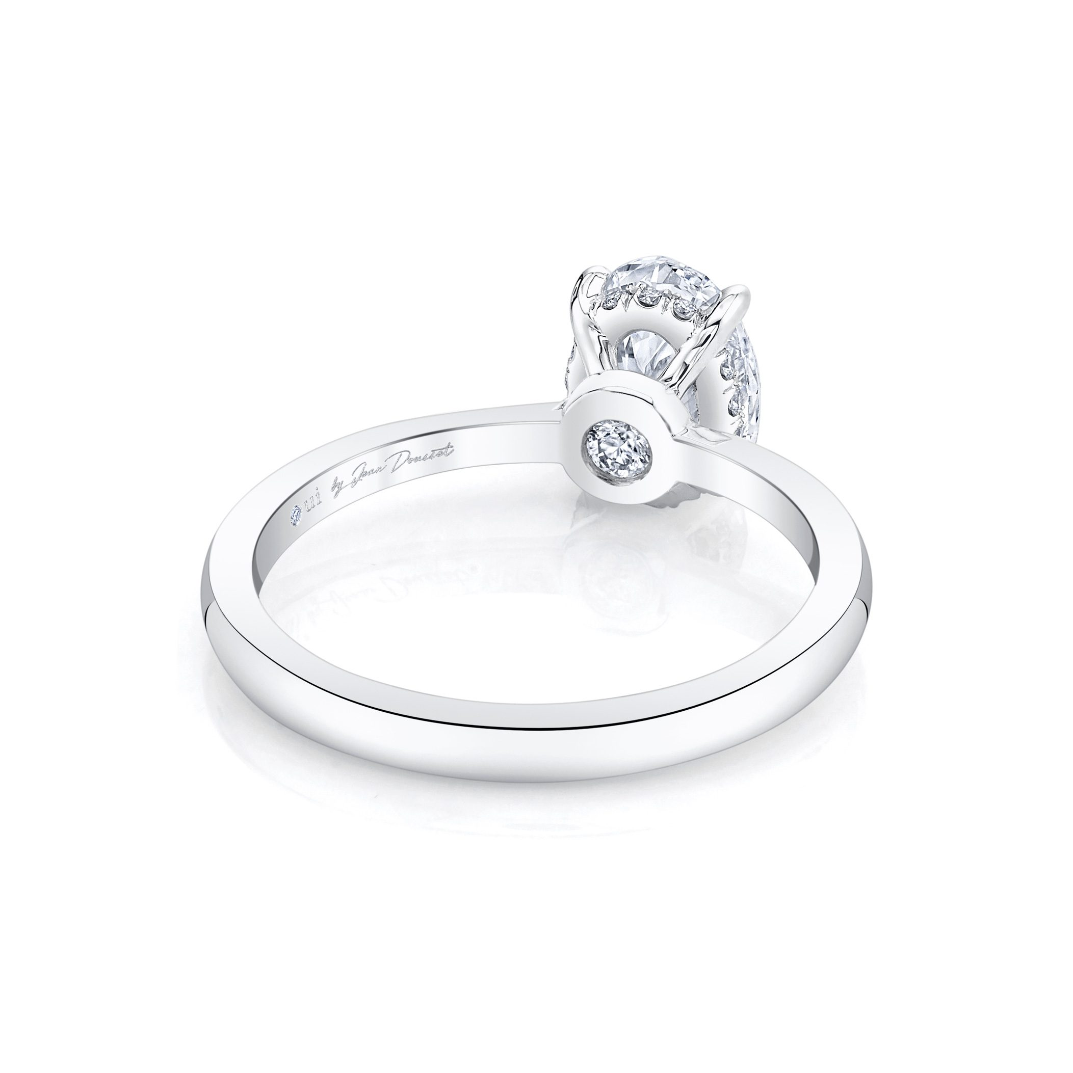 Colette Oval Solitaire Engagement Ring with a sold band in Platinum Back Shot by Oui by Jean Dousset