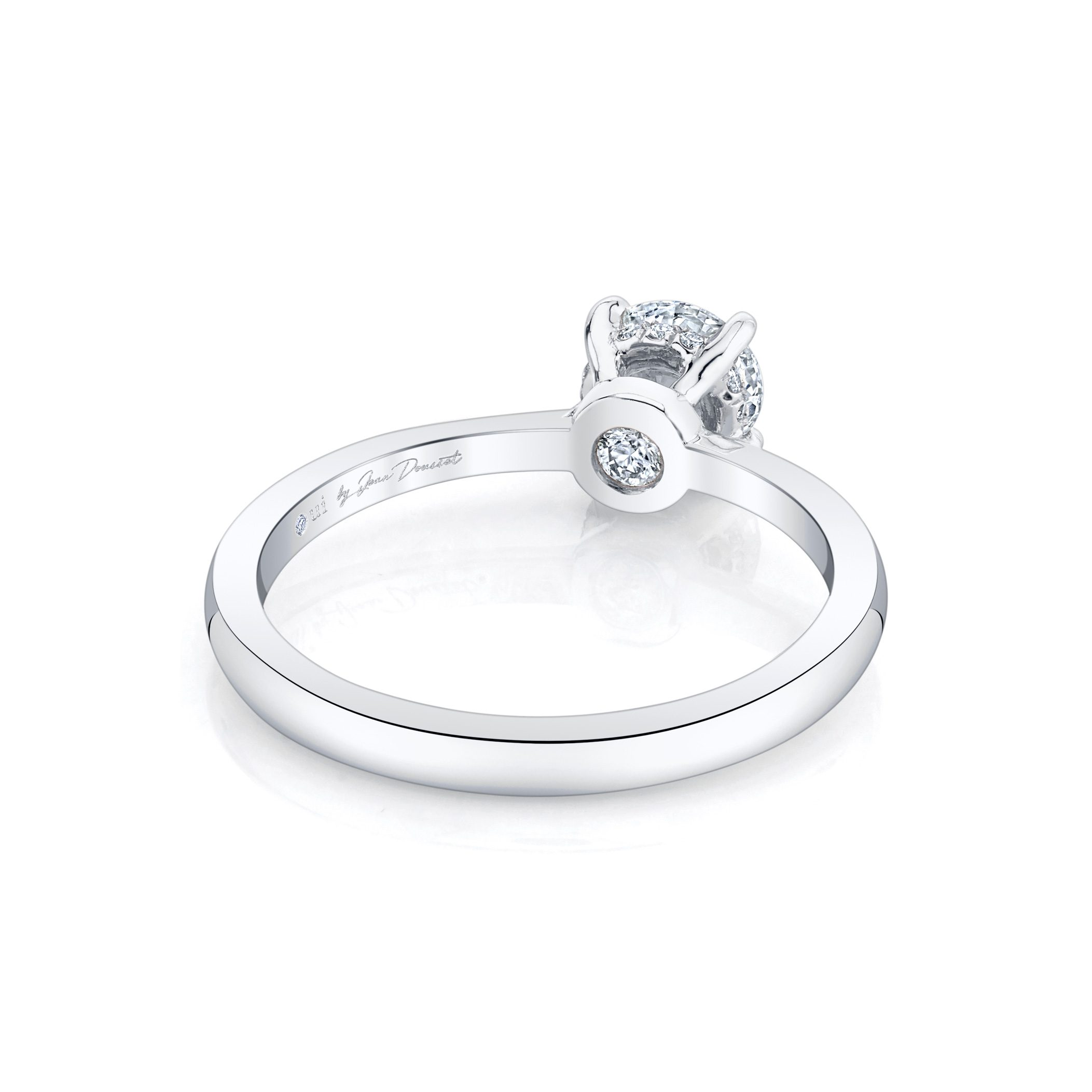 Colette Round Brilliant Solitaire Engagement Ring with a sold band in 18k White Gold Back View by Oui by Jean Dousset