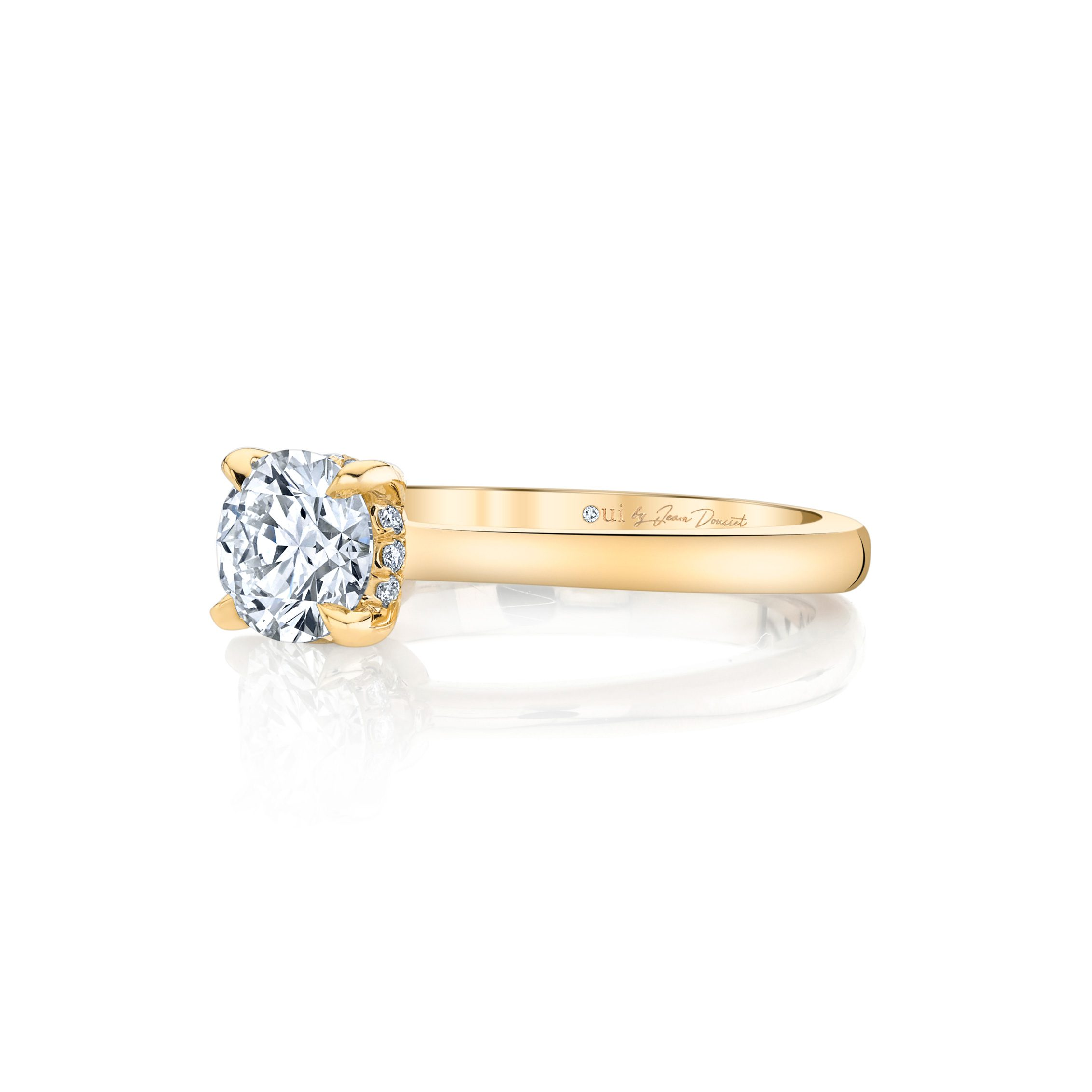 Colette Round Brilliant Solitaire Engagement Ring with a sold band in 18k Yellow Gold Side View by Oui by Jean Dousset