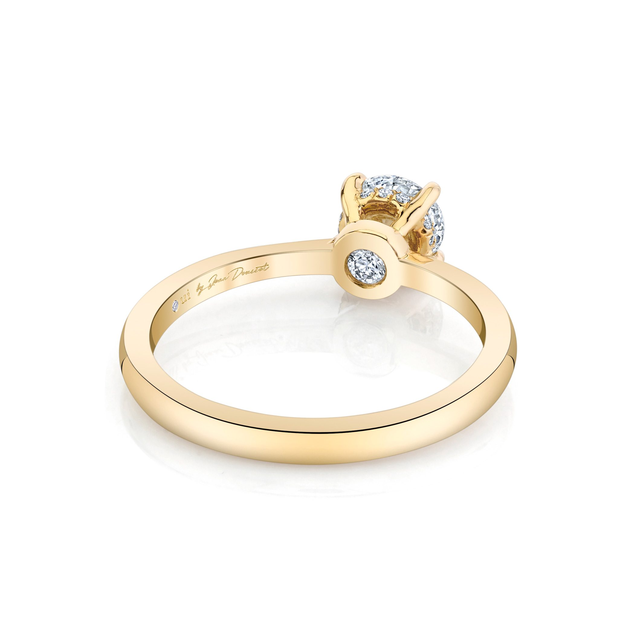 Colette Round Brilliant Solitaire Engagement Ring with a sold band in 18k Yellow Gold Back View by Oui by Jean Dousset